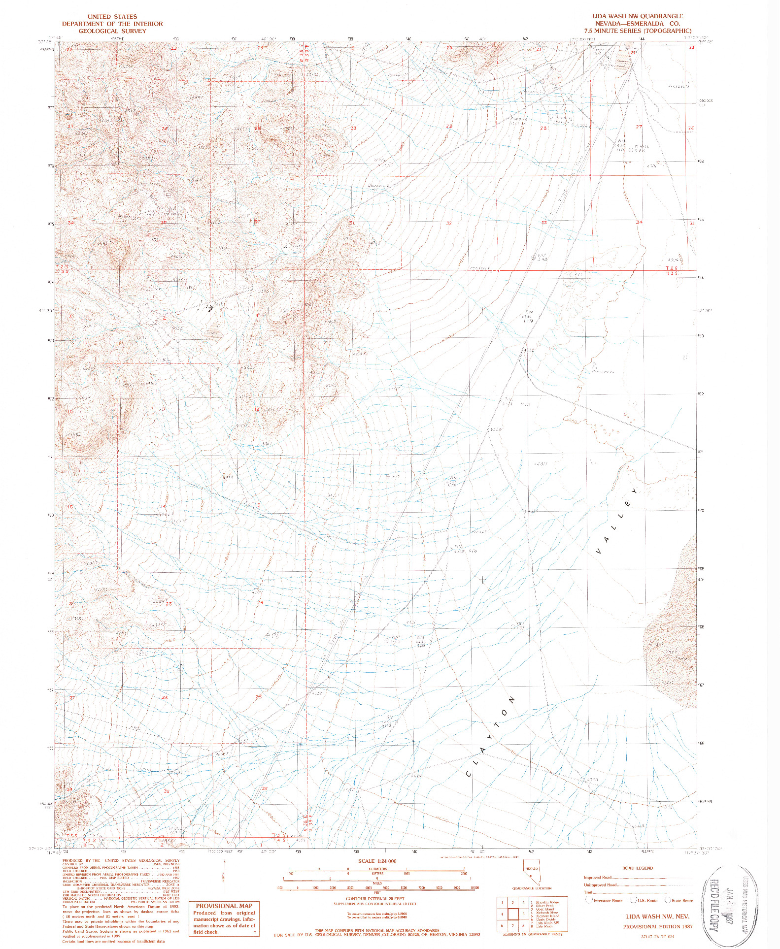 USGS 1:24000-SCALE QUADRANGLE FOR LIDA WASH NW, NV 1987