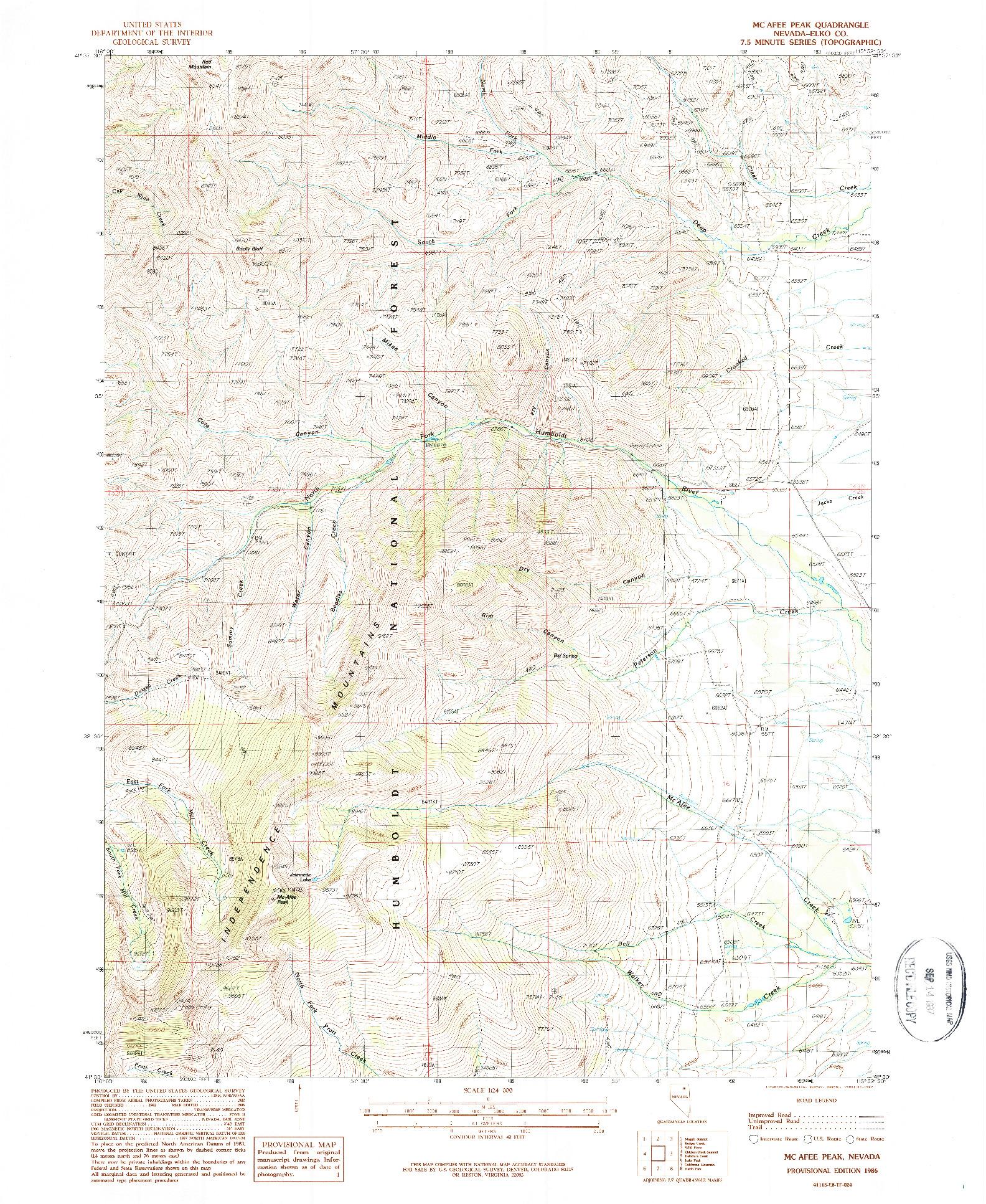 USGS 1:24000-SCALE QUADRANGLE FOR MCAFEE PEAK, NV 1986