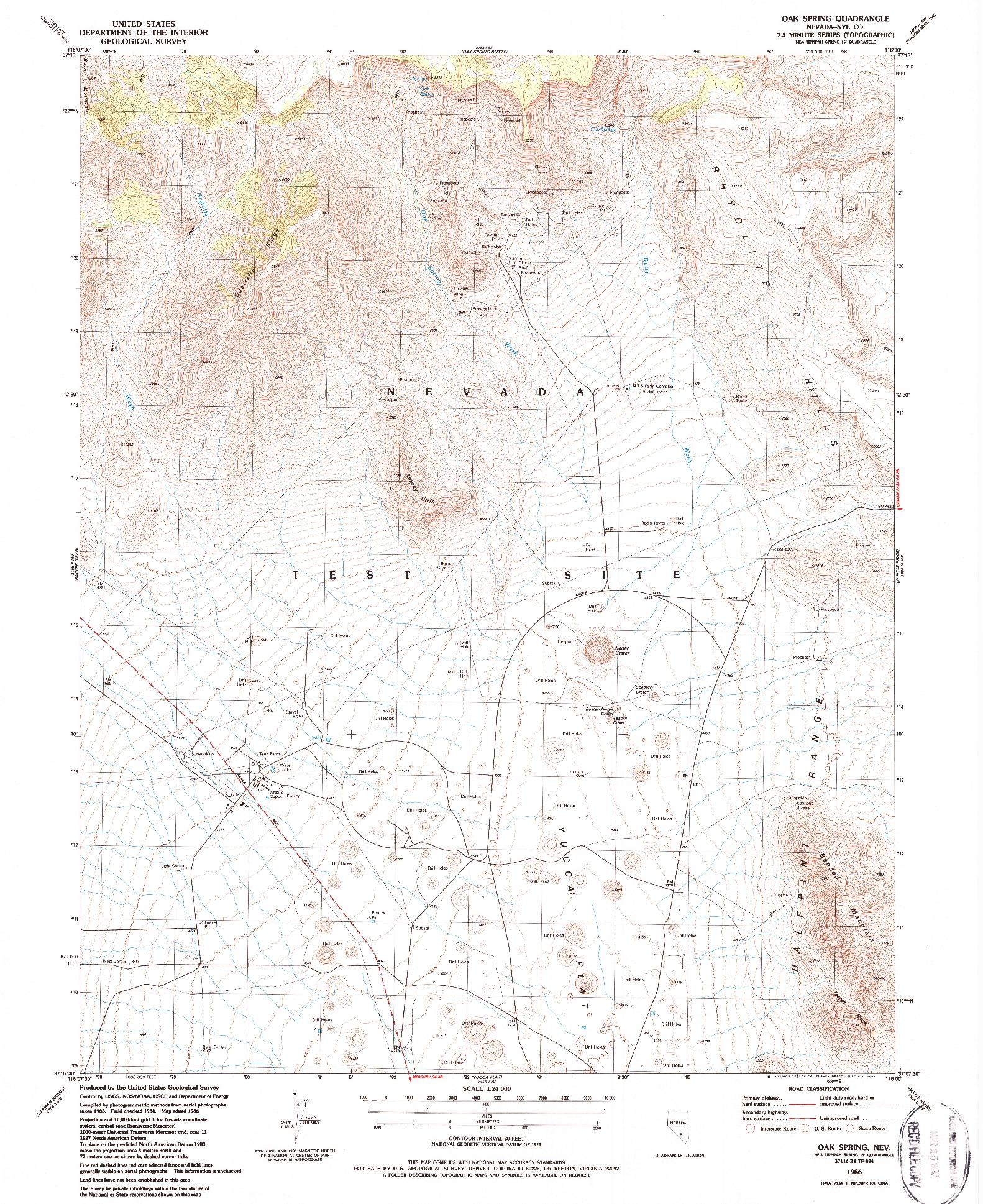 USGS 1:24000-SCALE QUADRANGLE FOR OAK SPRING, NV 1986