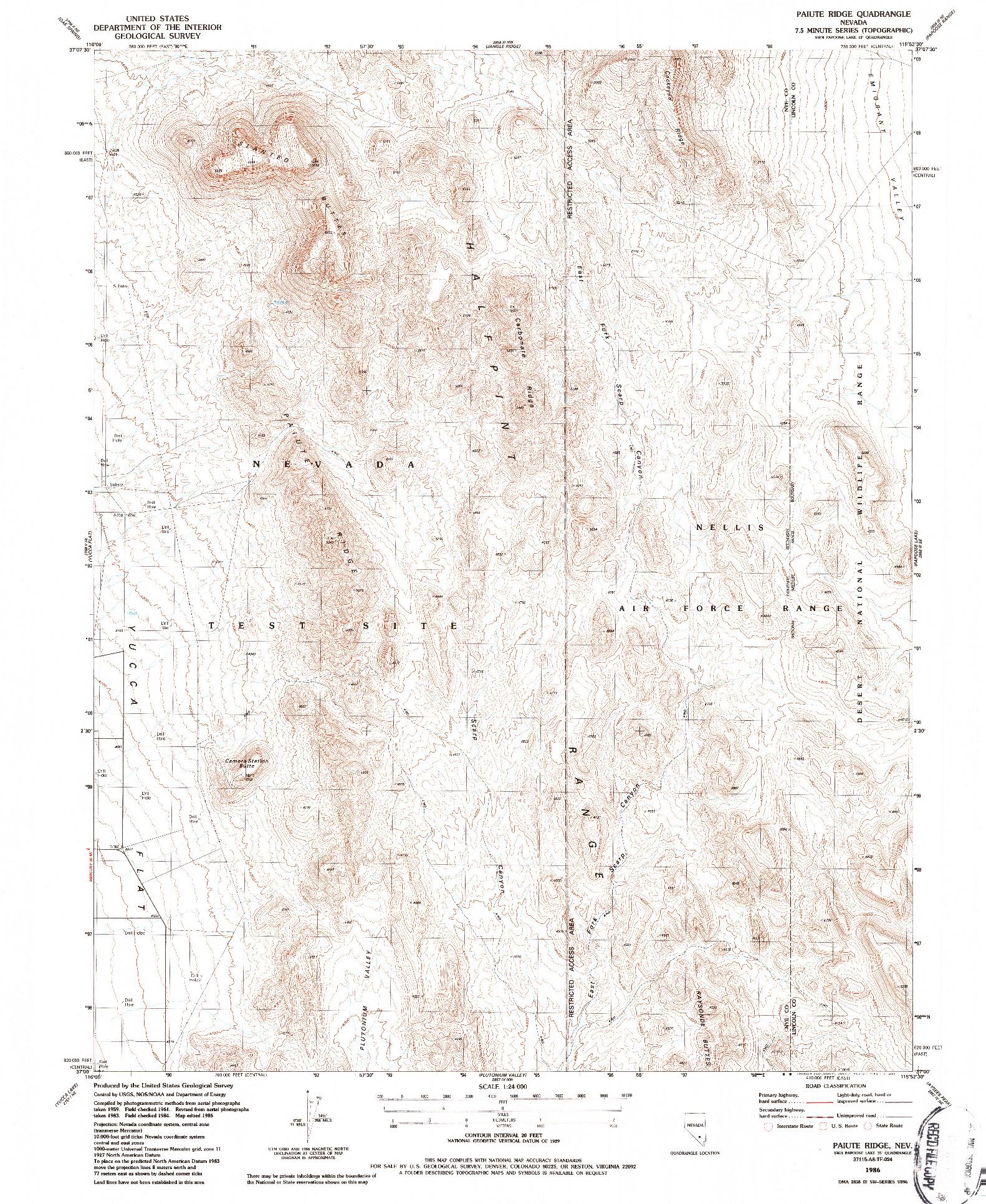 USGS 1:24000-SCALE QUADRANGLE FOR PAIUTE RIDGE, NV 1986