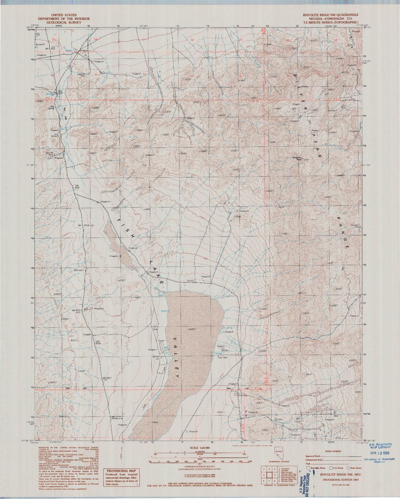 USGS 1:24000-SCALE QUADRANGLE FOR RHYOLITE RIDGE NW, NV 1987