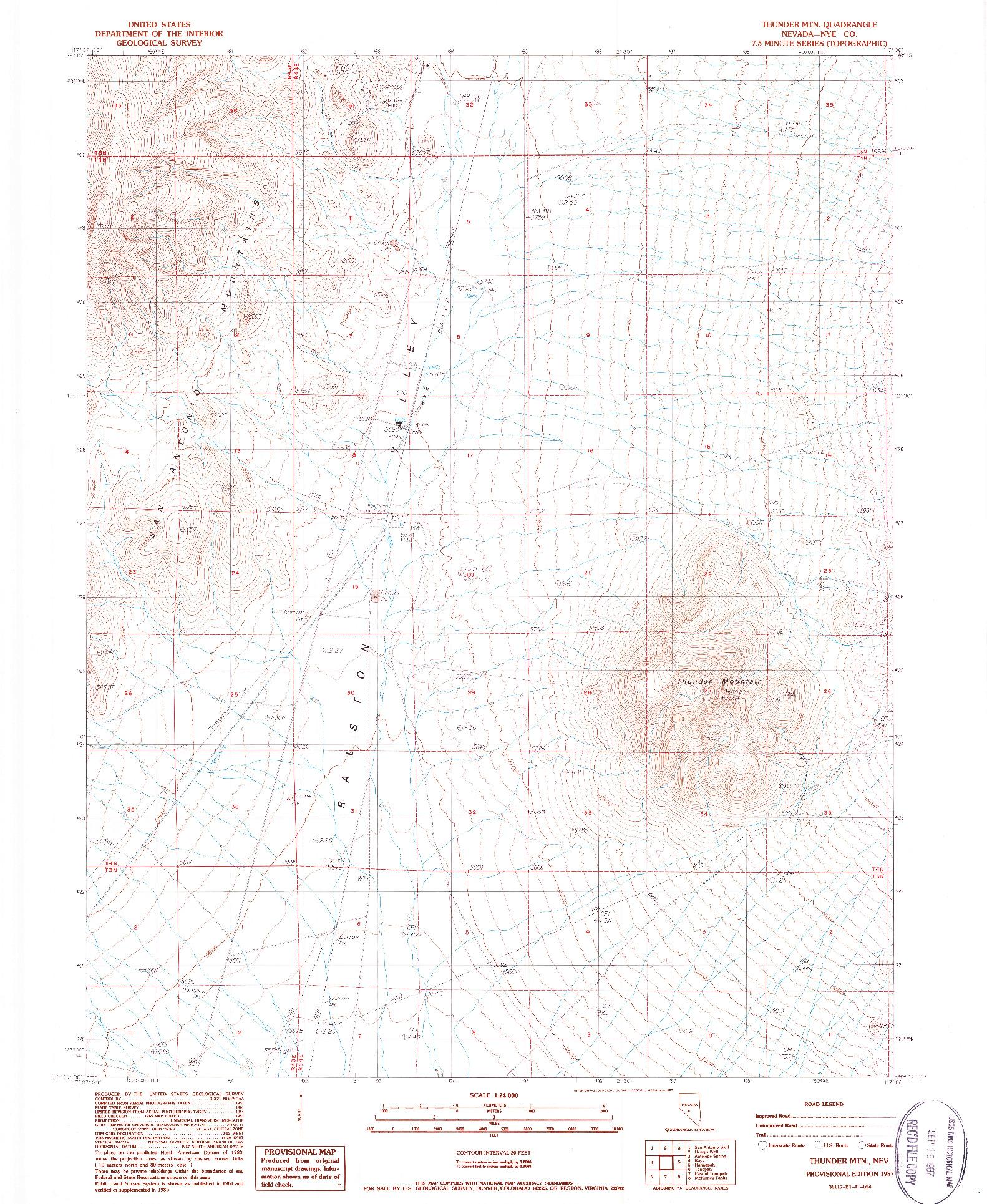 USGS 1:24000-SCALE QUADRANGLE FOR THUNDER MTN, NV 1987