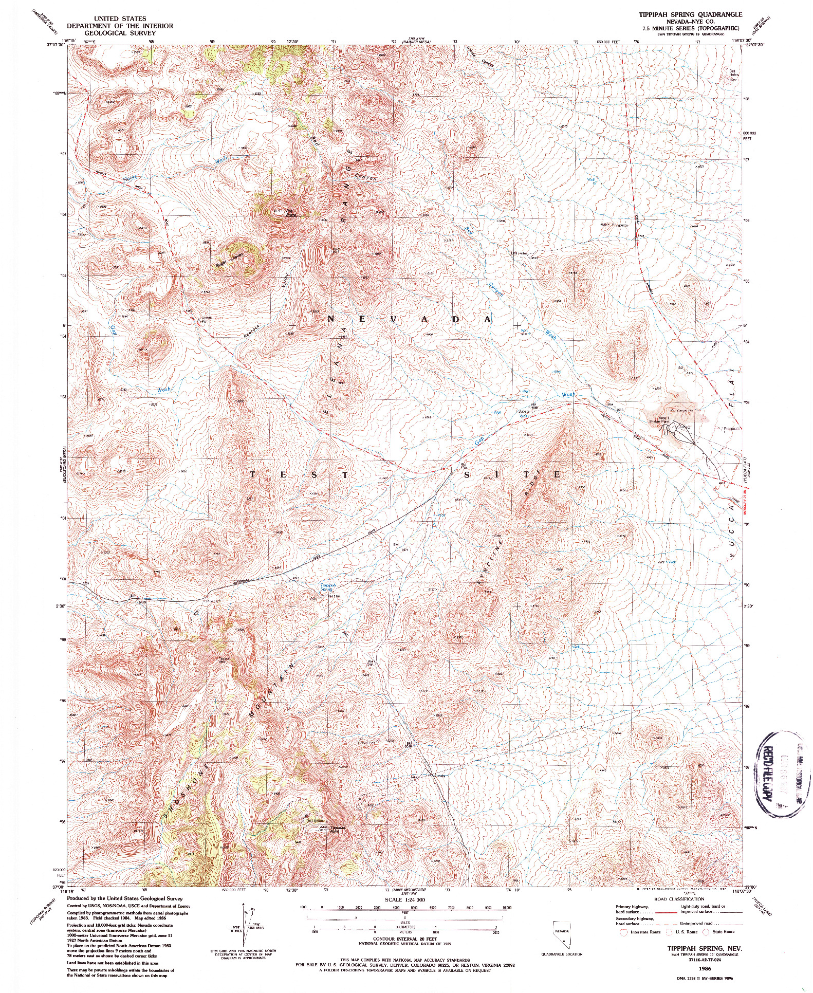 USGS 1:24000-SCALE QUADRANGLE FOR TIPPIPAH SPRING, NV 1986