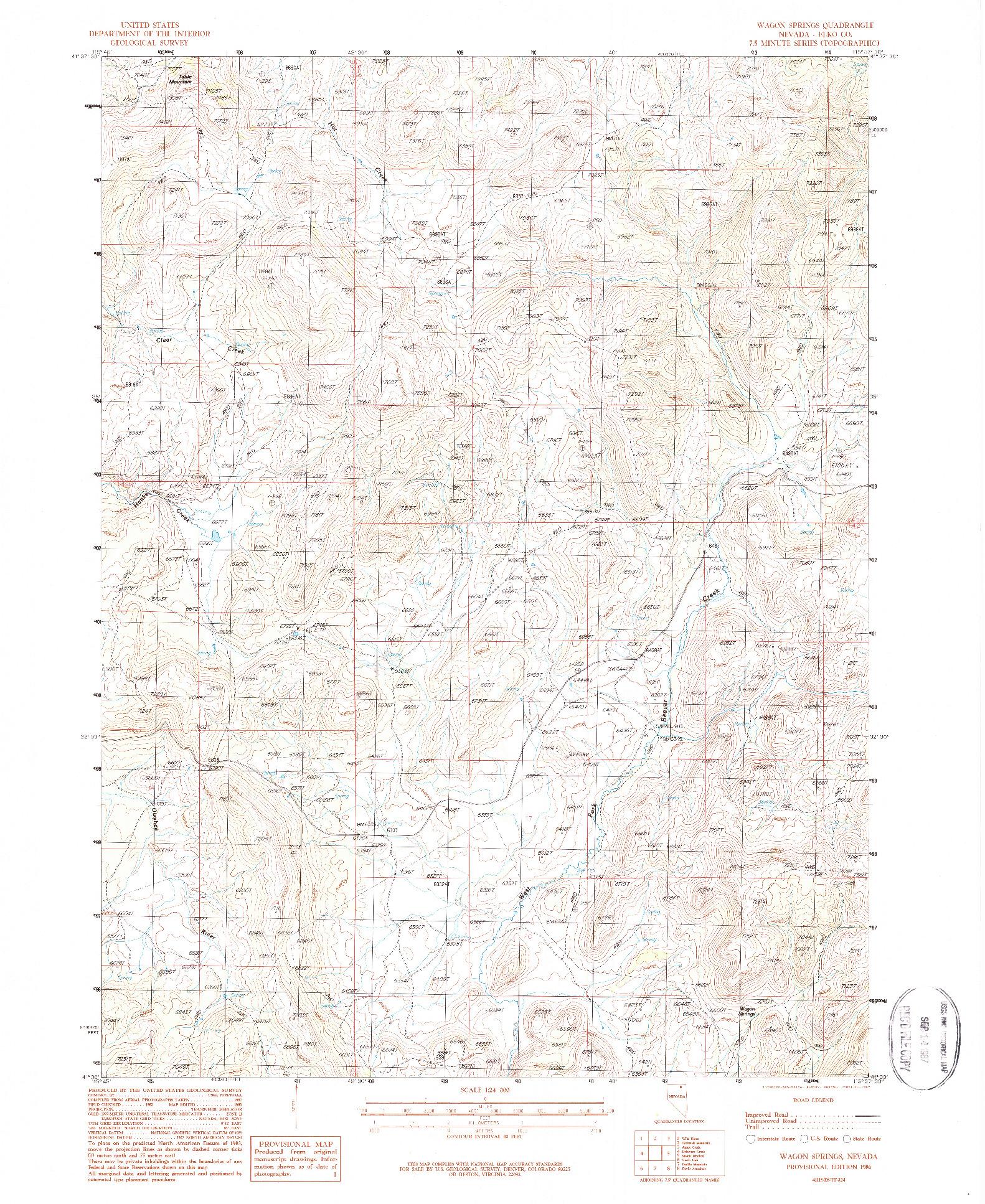 USGS 1:24000-SCALE QUADRANGLE FOR WAGON SPRINGS, NV 1986