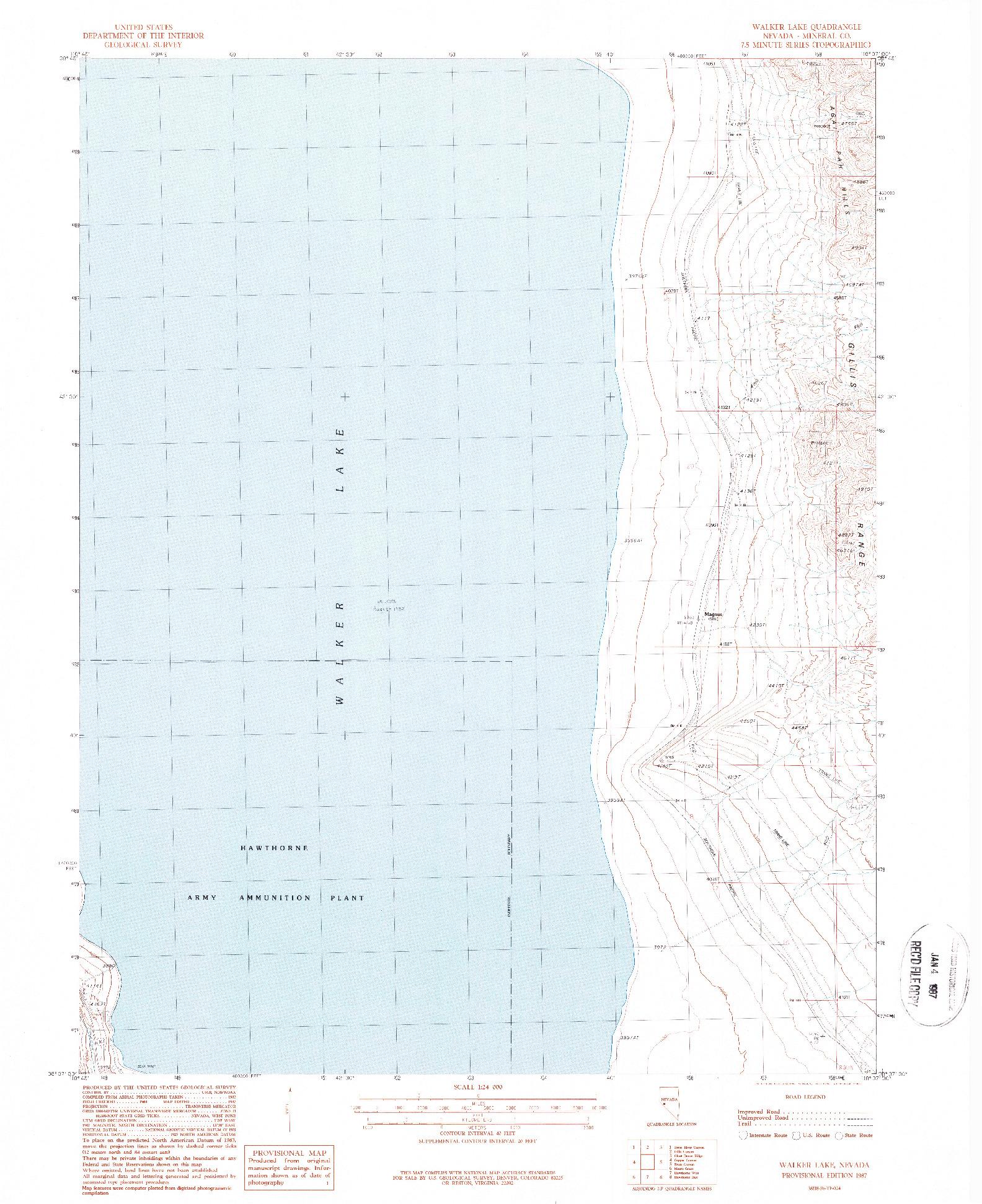 USGS 1:24000-SCALE QUADRANGLE FOR WALKER LAKE, NV 1987