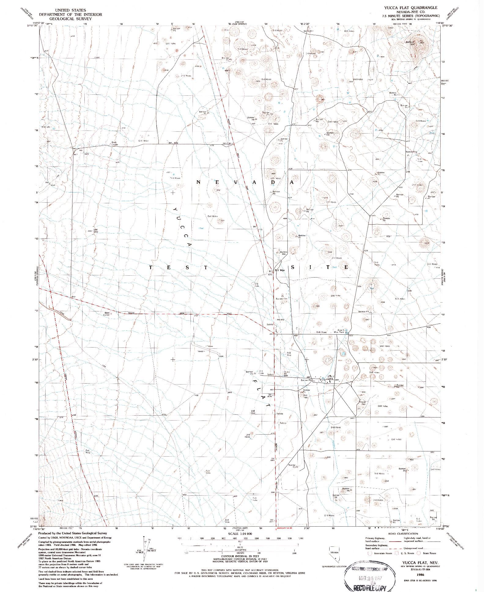 USGS 1:24000-SCALE QUADRANGLE FOR YUCCA FLAT, NV 1986