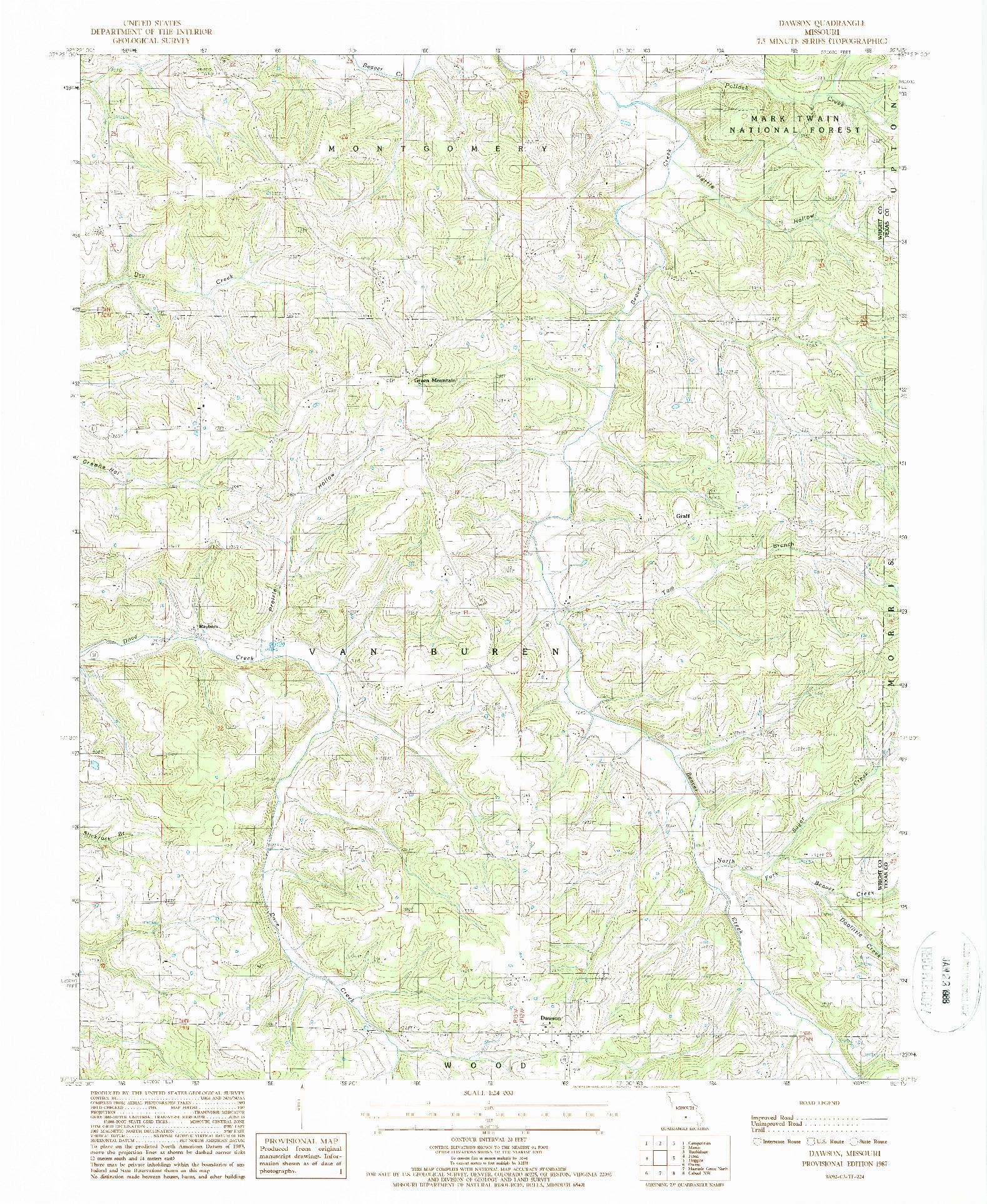 USGS 1:24000-SCALE QUADRANGLE FOR DAWSON, MO 1987