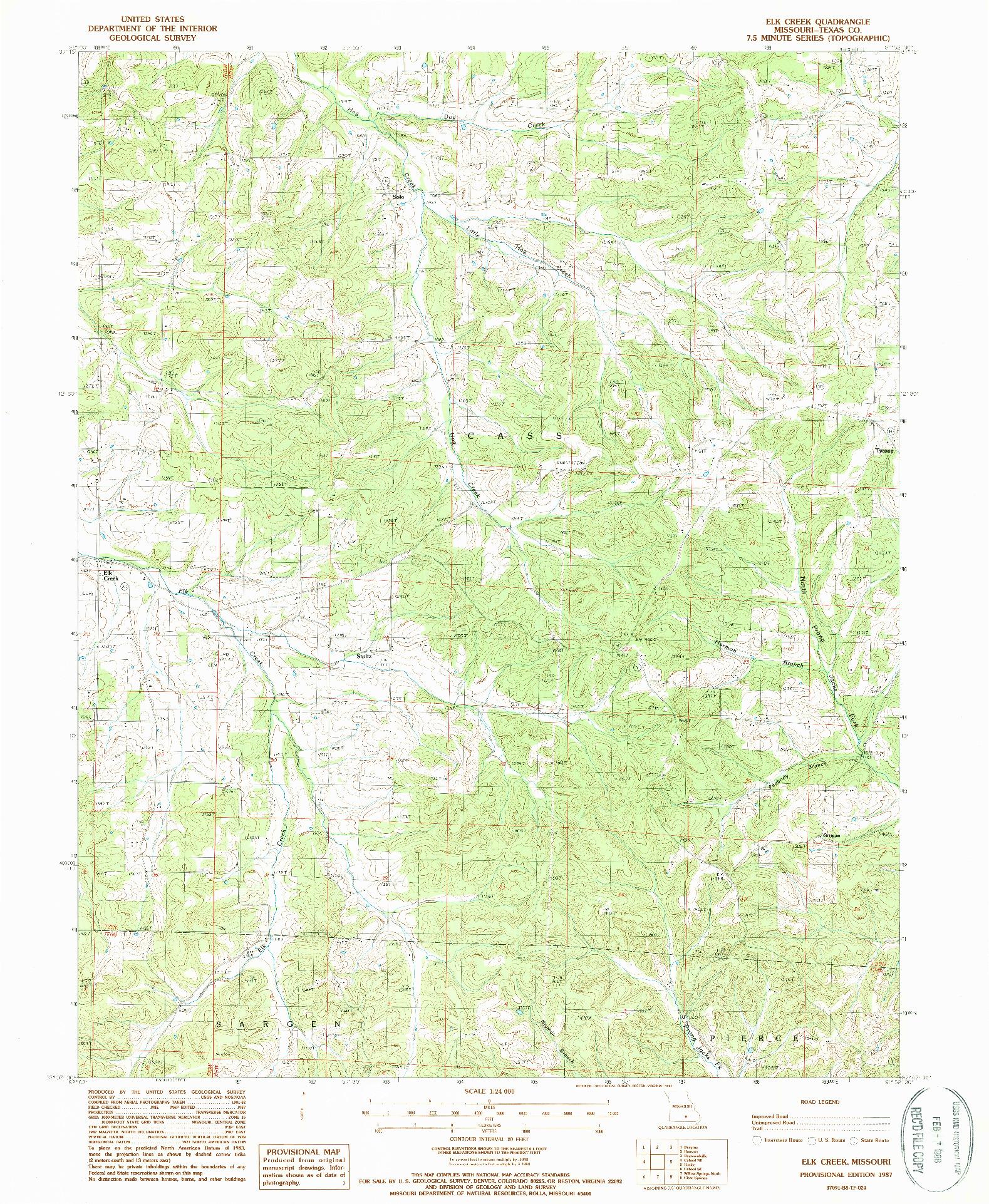 USGS 1:24000-SCALE QUADRANGLE FOR ELK CREEK, MO 1987