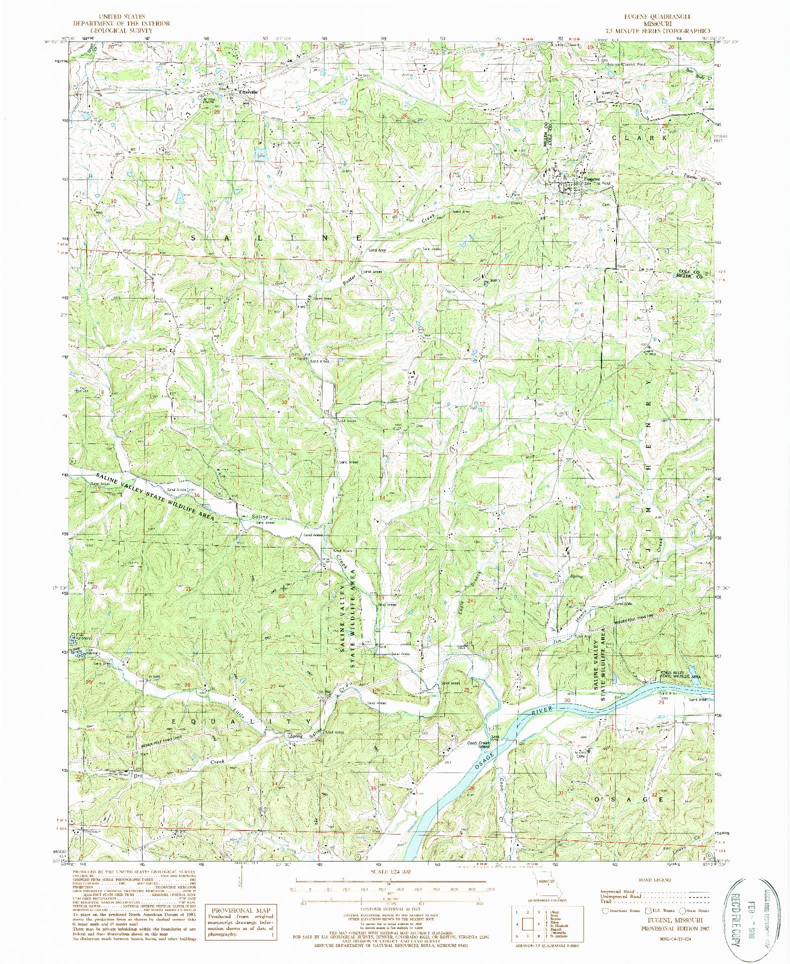 USGS 1:24000-SCALE QUADRANGLE FOR EUGENE, MO 1987