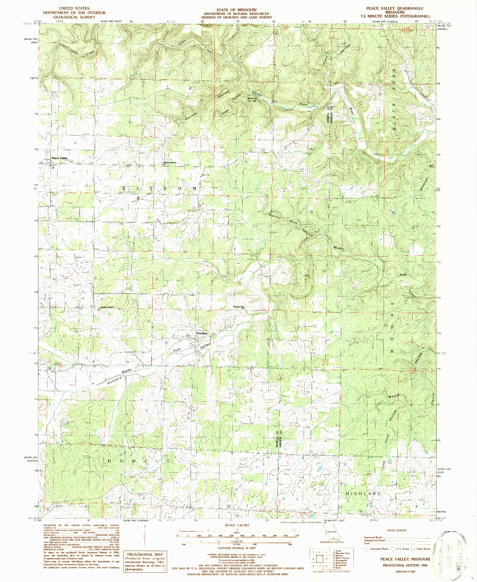 USGS 1:24000-SCALE QUADRANGLE FOR PEACE VALLEY, MO 1986