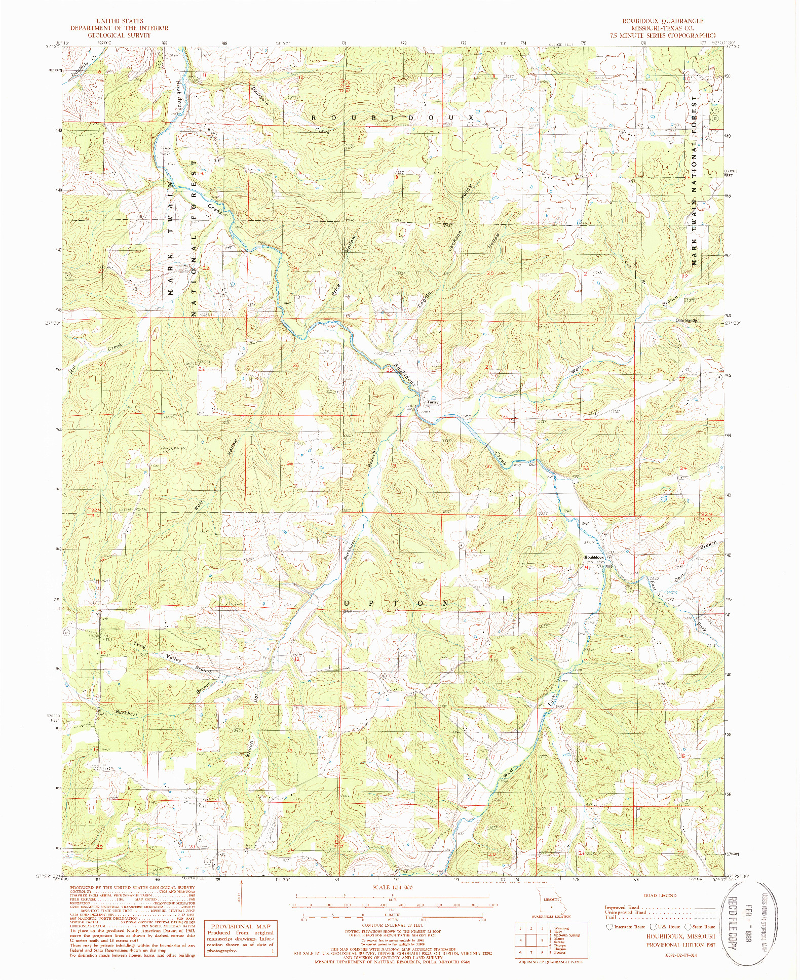 USGS 1:24000-SCALE QUADRANGLE FOR ROUBIDOUX, MO 1987