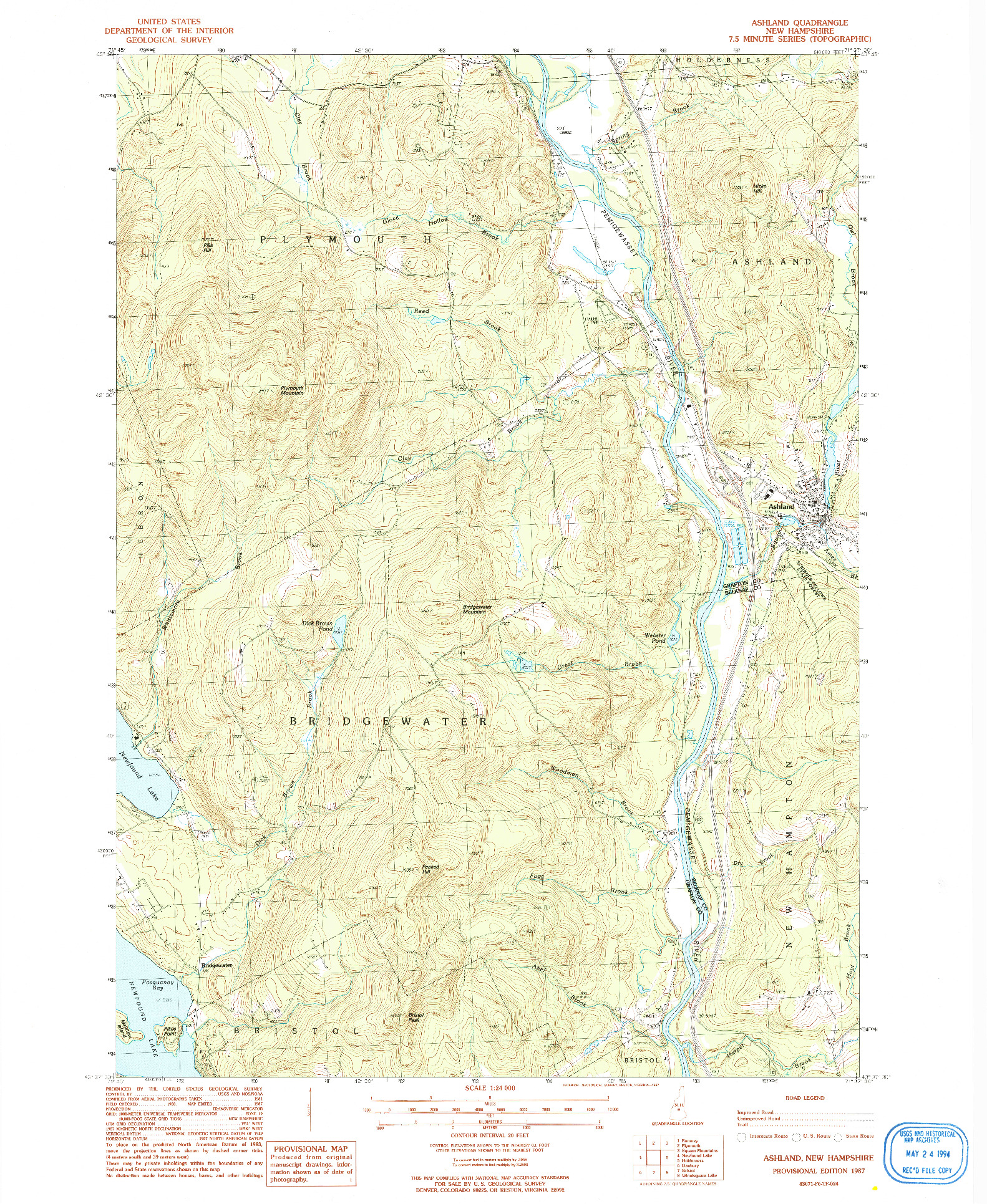 USGS 1:24000-SCALE QUADRANGLE FOR ASHLAND, NH 1987
