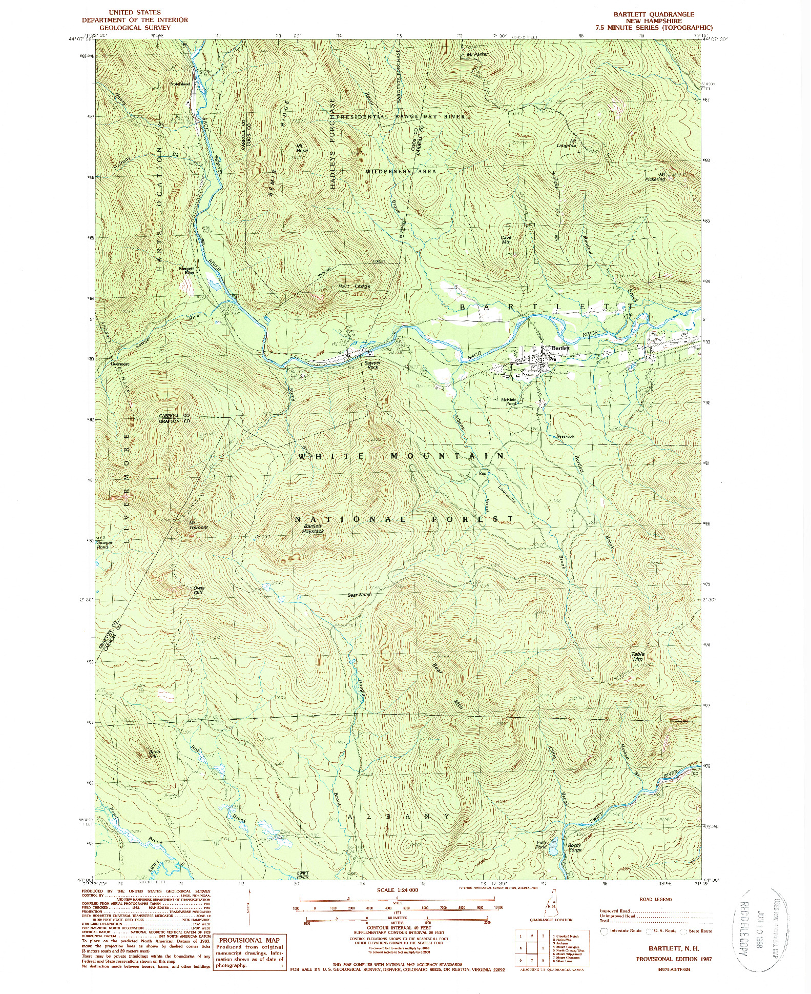 USGS 1:24000-SCALE QUADRANGLE FOR BARTLETT, NH 1987