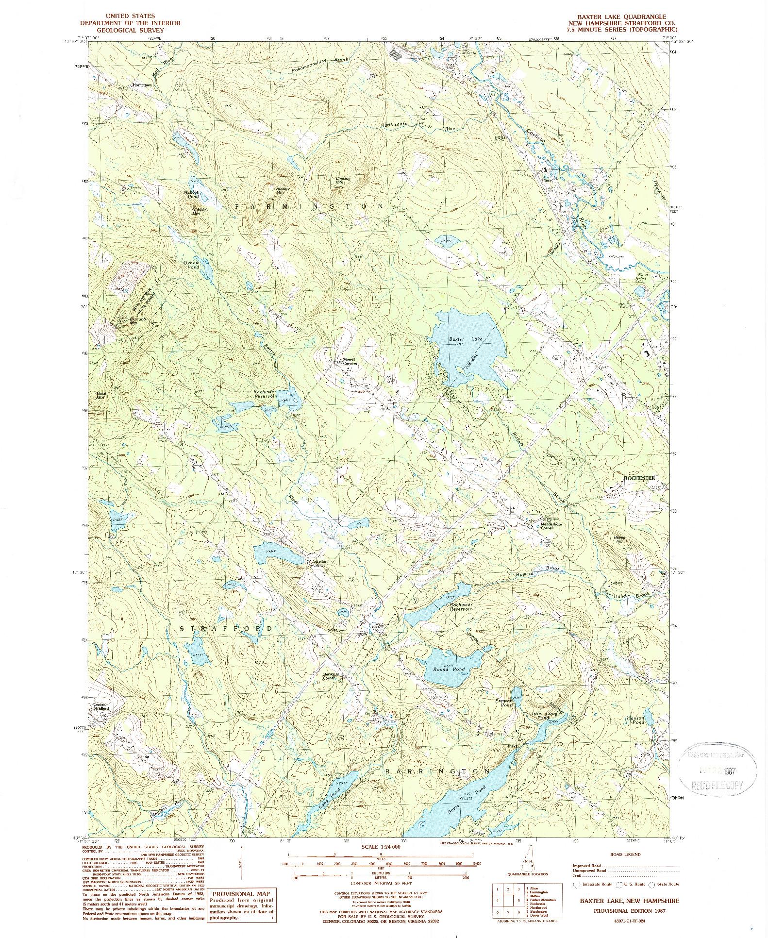 USGS 1:24000-SCALE QUADRANGLE FOR BAXTER LAKE, NH 1987
