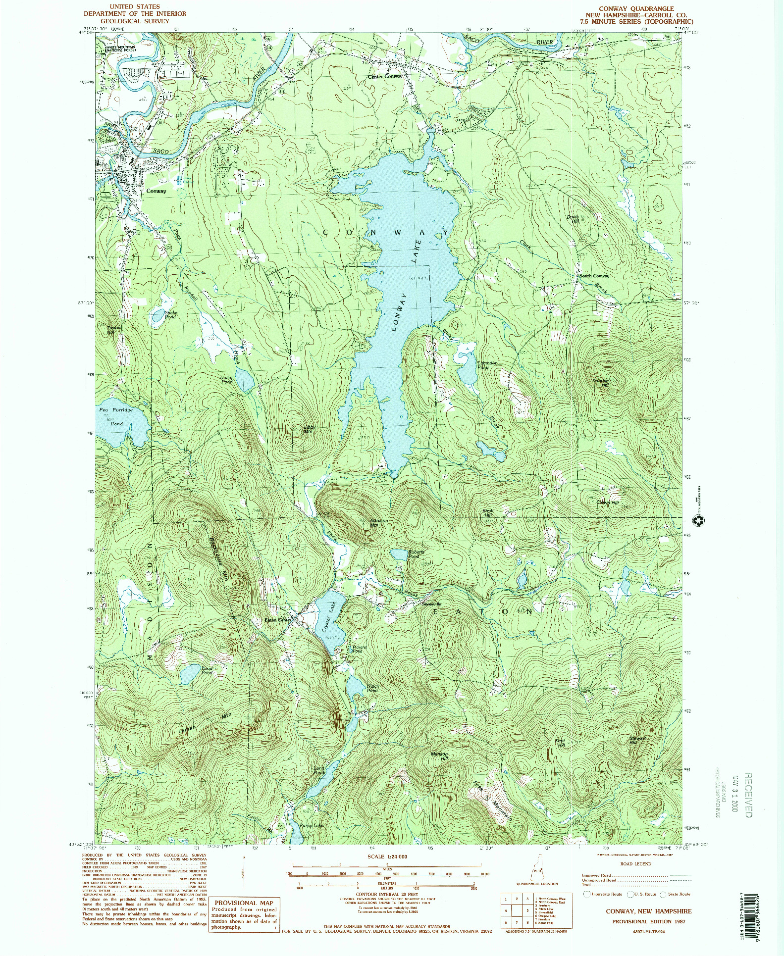 USGS 1:24000-SCALE QUADRANGLE FOR CONWAY, NH 1987