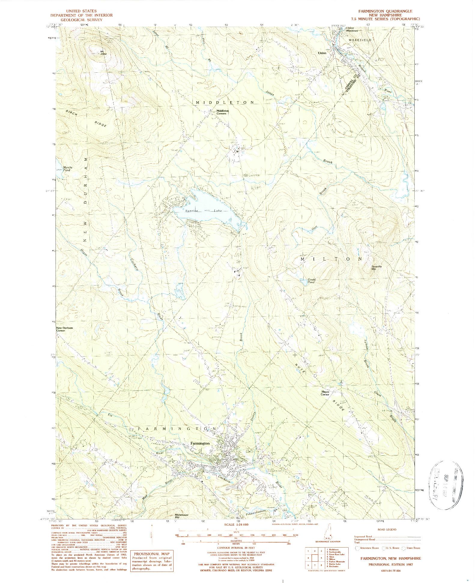 USGS 1:24000-SCALE QUADRANGLE FOR FARMINGTON, NH 1987