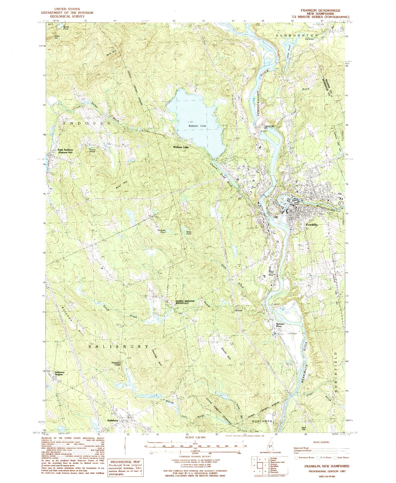 USGS 1:24000-SCALE QUADRANGLE FOR FRANKLIN, NH 1987