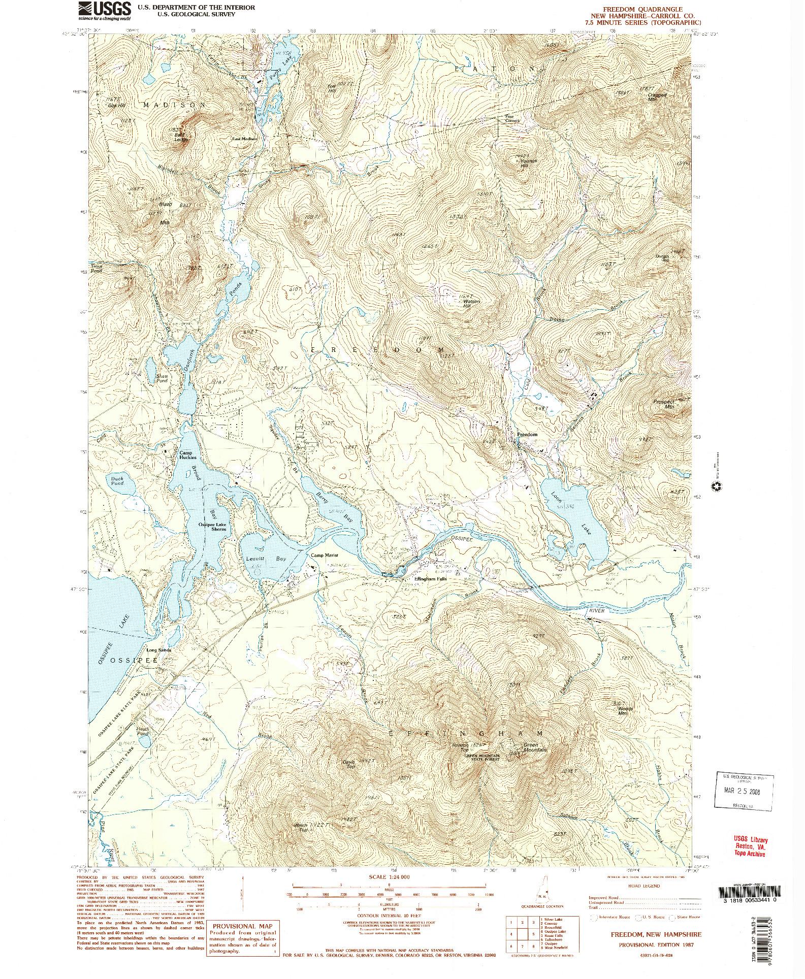 USGS 1:24000-SCALE QUADRANGLE FOR FREEDOM, NH 1987
