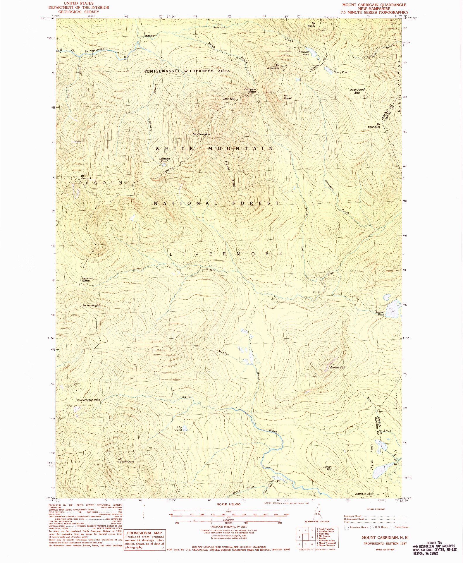 USGS 1:24000-SCALE QUADRANGLE FOR MOUNT CARRIGAIN, NH 1987