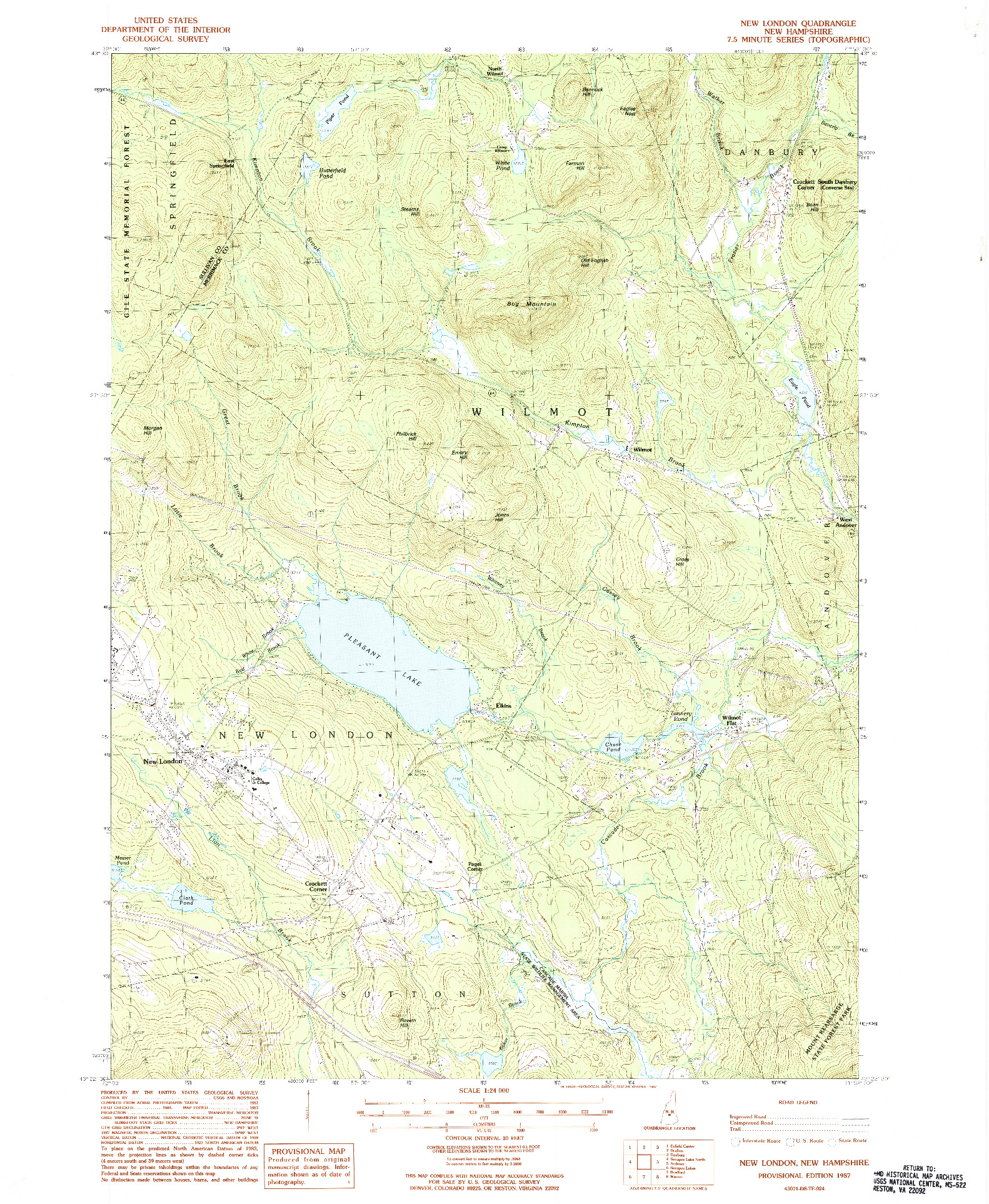 USGS 1:24000-SCALE QUADRANGLE FOR NEW LONDON, NH 1987