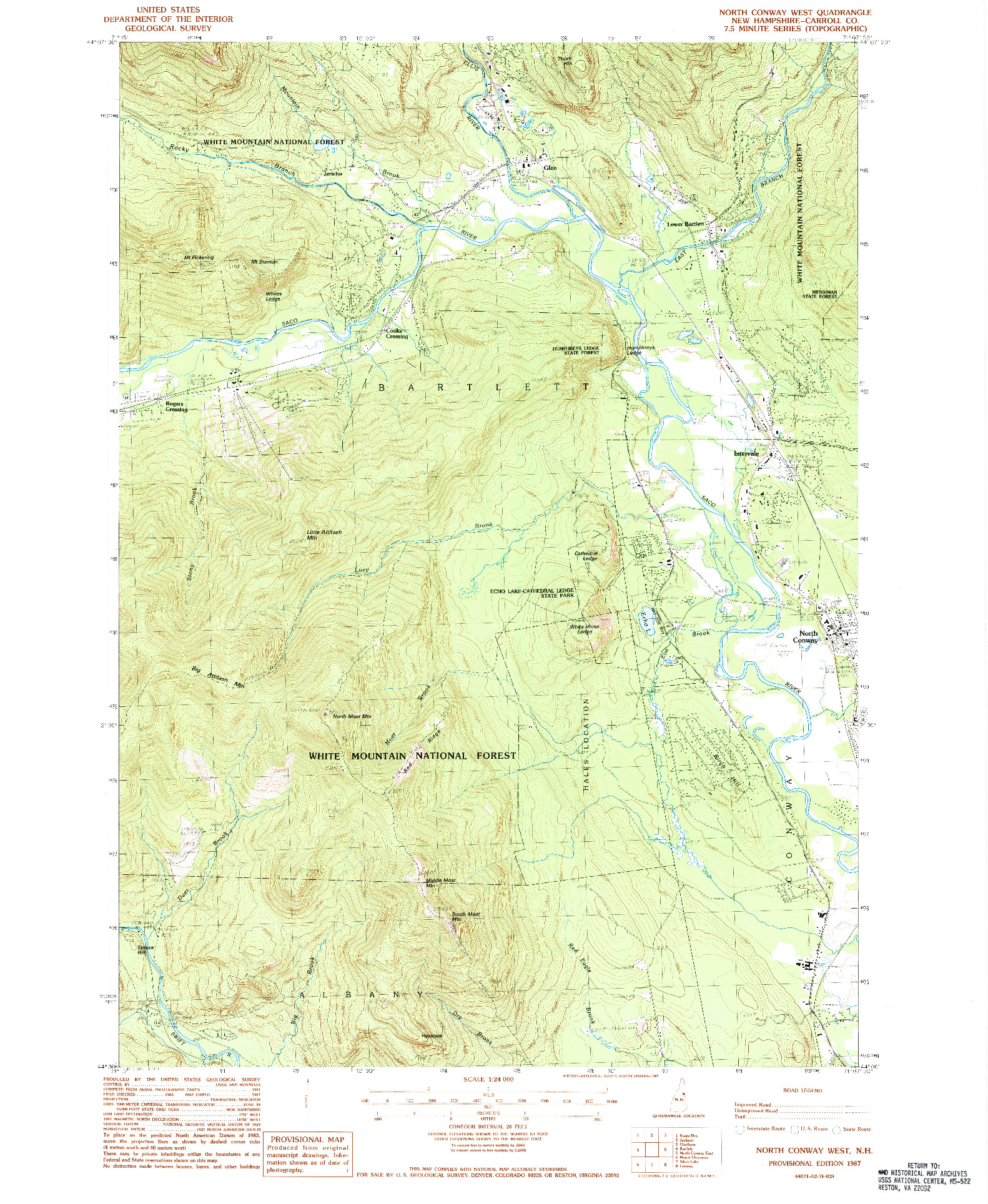 USGS 1:24000-SCALE QUADRANGLE FOR NORTH CONWAY WEST, NH 1987