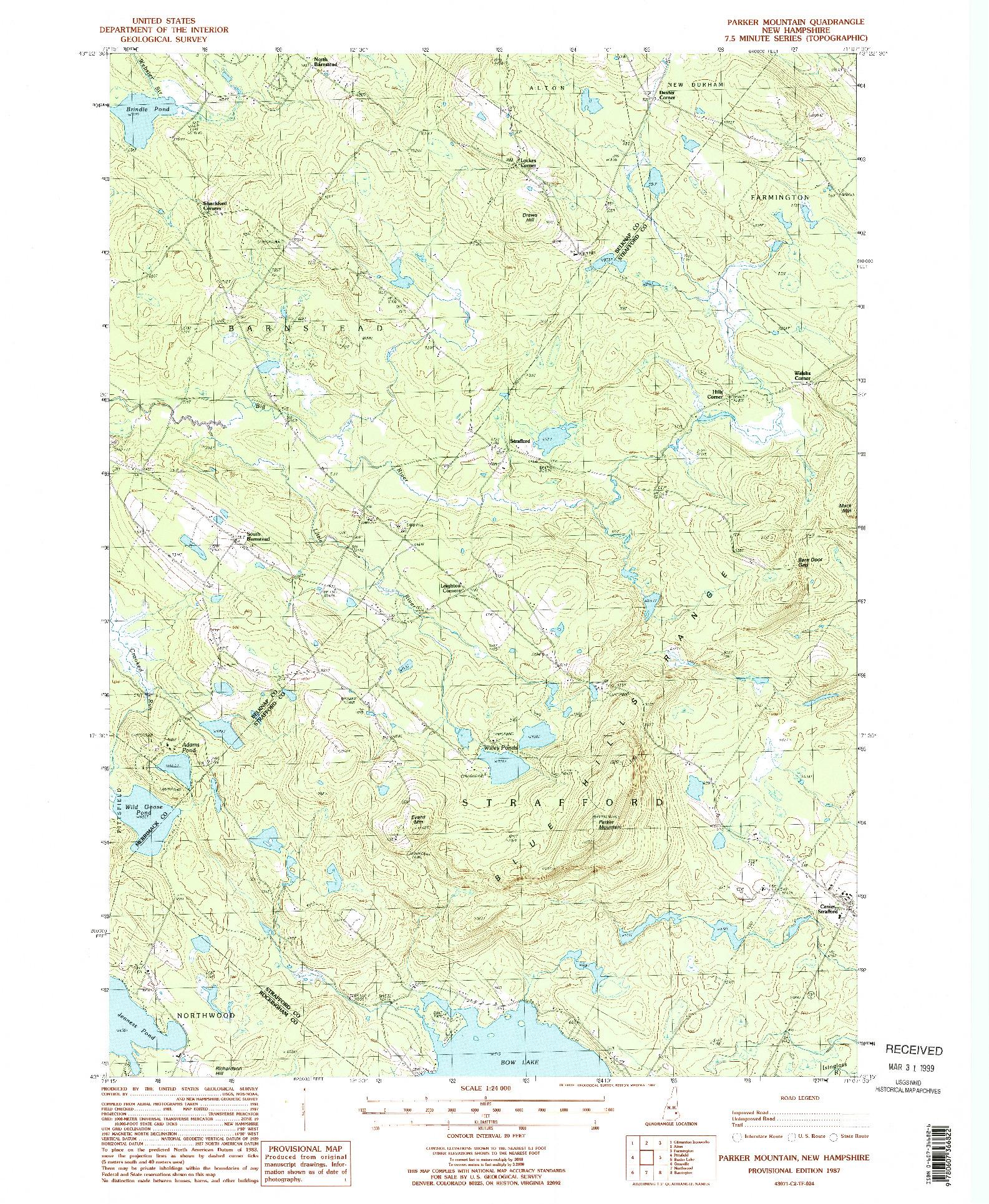 USGS 1:24000-SCALE QUADRANGLE FOR PARKER MOUNTAIN, NH 1987