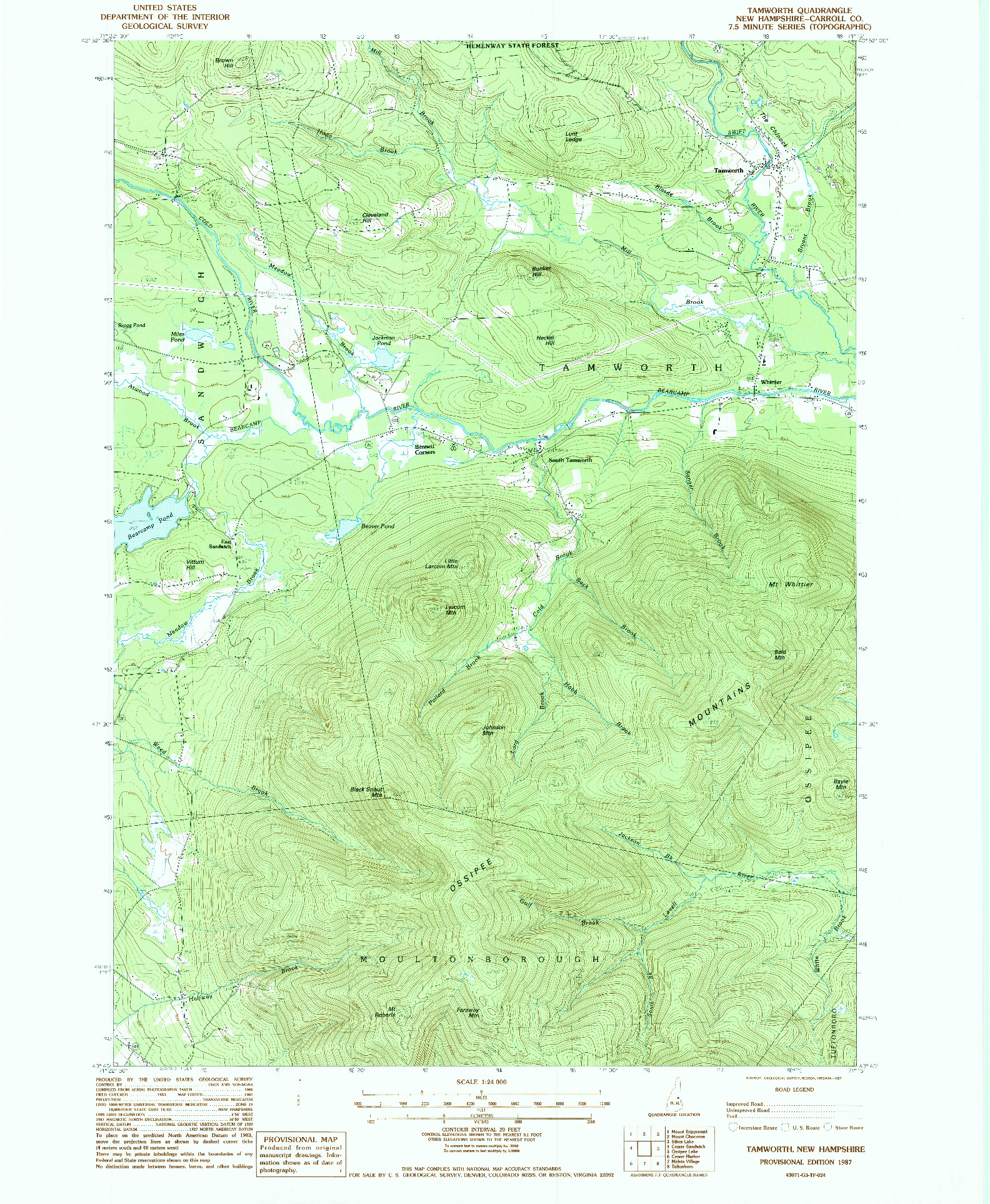 USGS 1:24000-SCALE QUADRANGLE FOR TAMWORTH, NH 1987