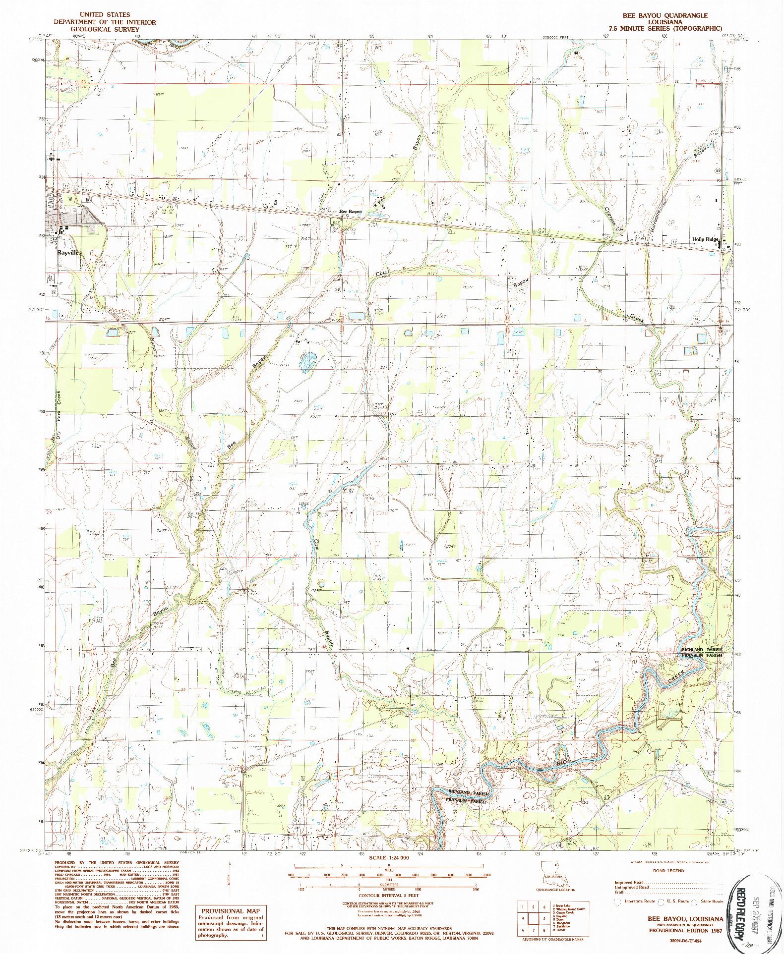 USGS 1:24000-SCALE QUADRANGLE FOR BEE BAYOU, LA 1987