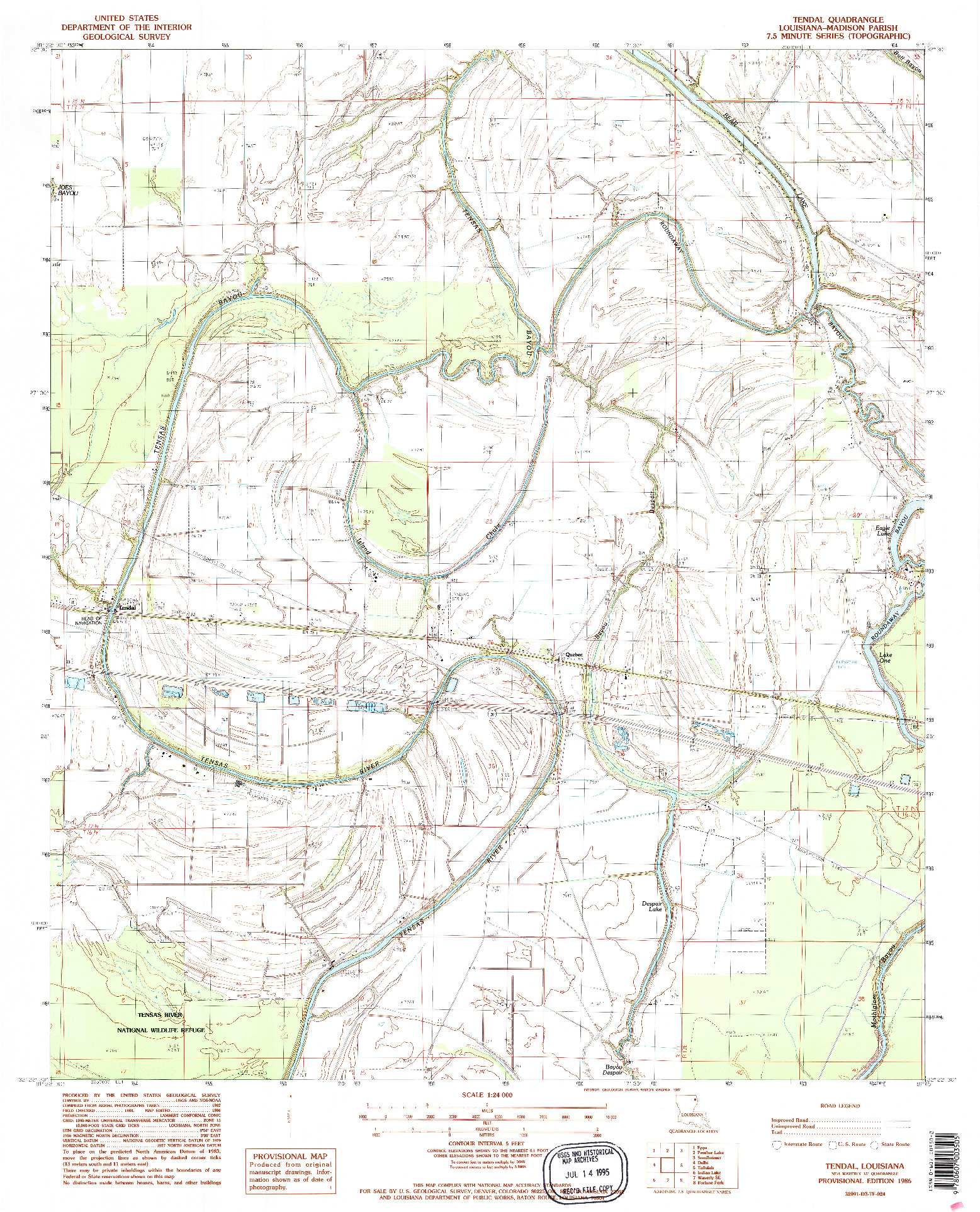 USGS 1:24000-SCALE QUADRANGLE FOR TENDAL, LA 1986