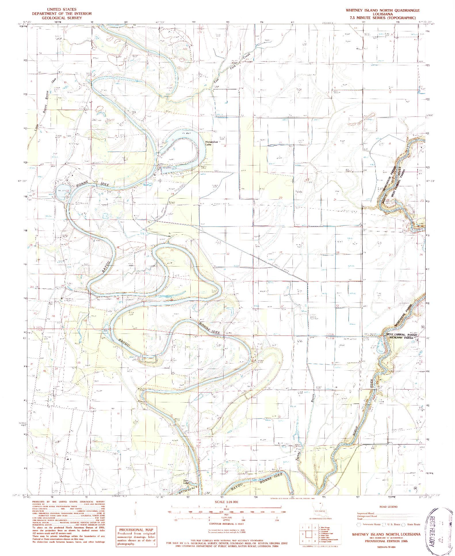 USGS 1:24000-SCALE QUADRANGLE FOR WHITNEY ISLAND NORTH, LA 1986