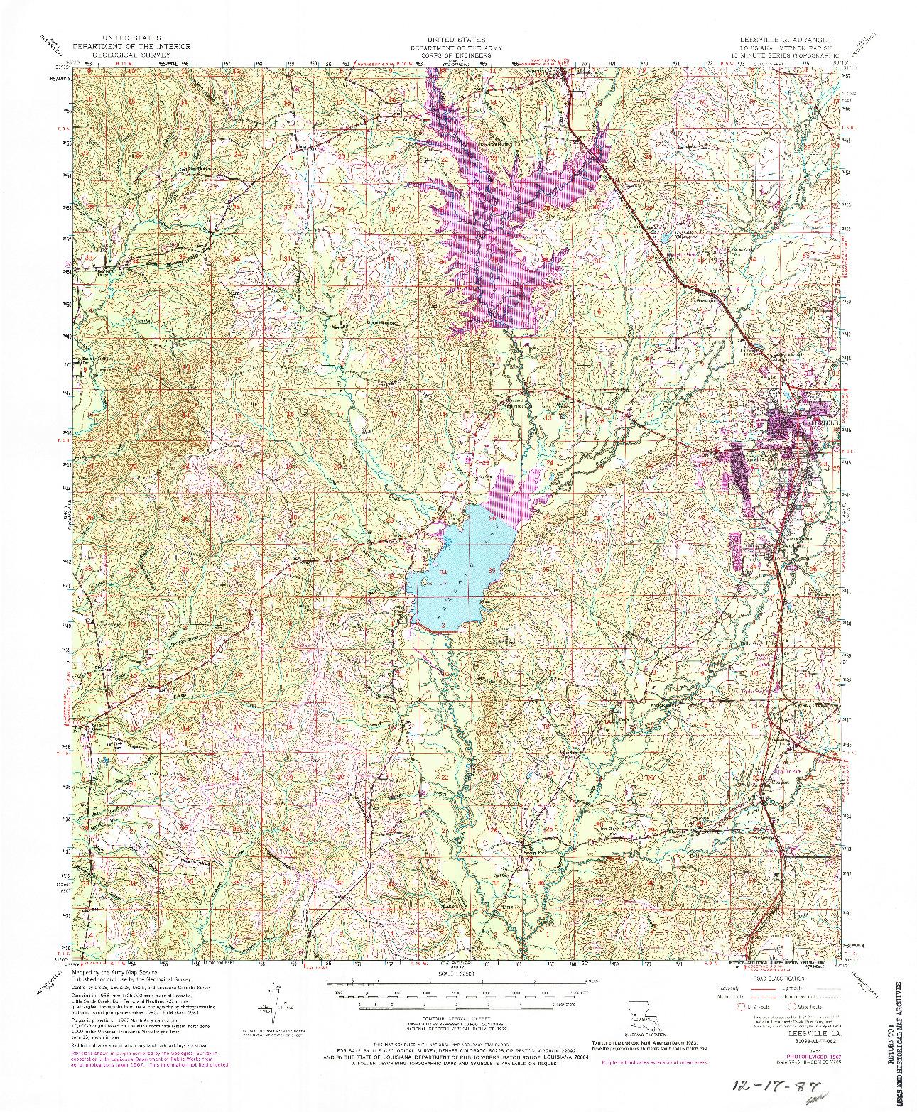 USGS 1:62500-SCALE QUADRANGLE FOR LEESVILLE, LA 1954