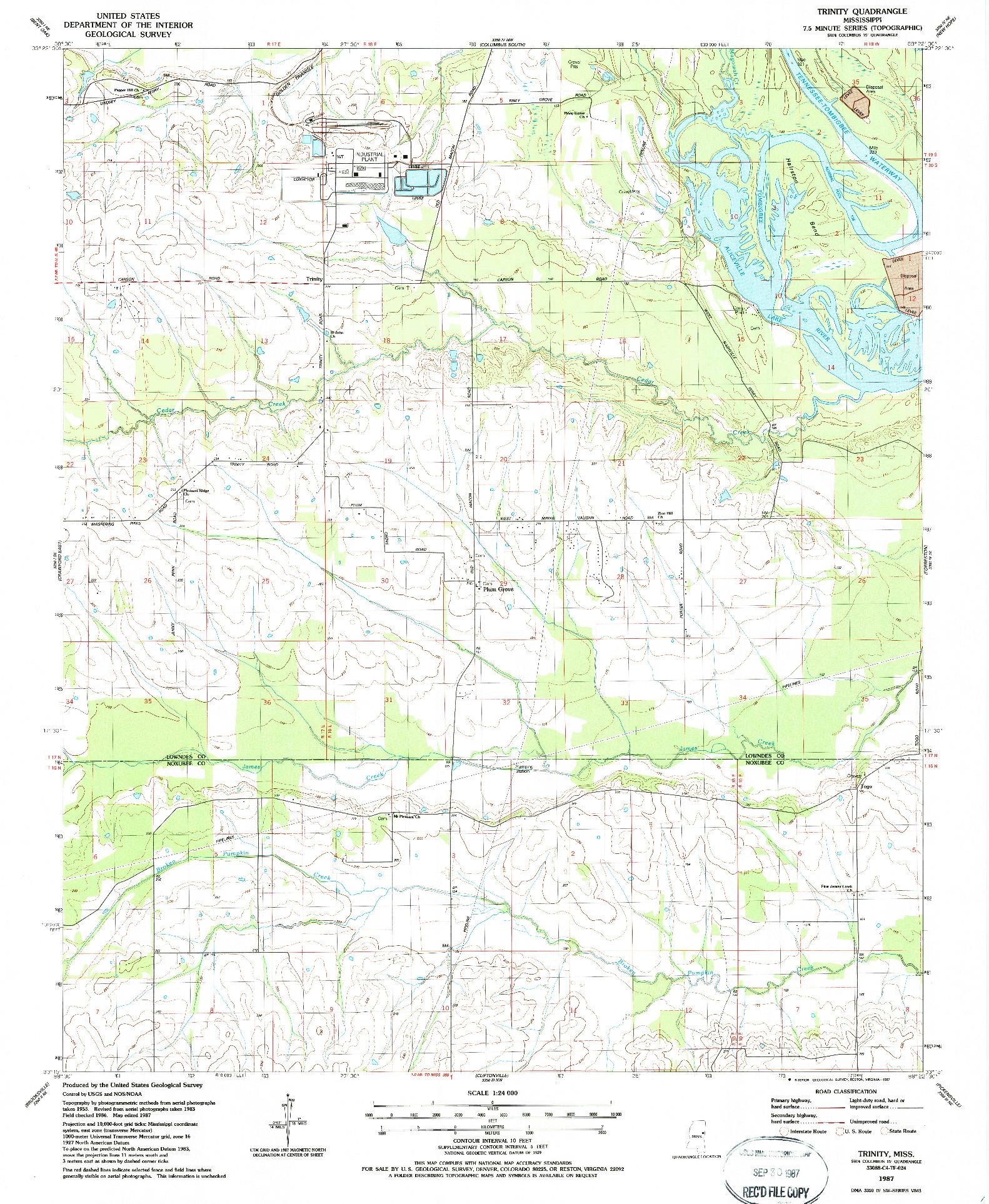 USGS 1:24000-SCALE QUADRANGLE FOR TRINITY, MS 1987