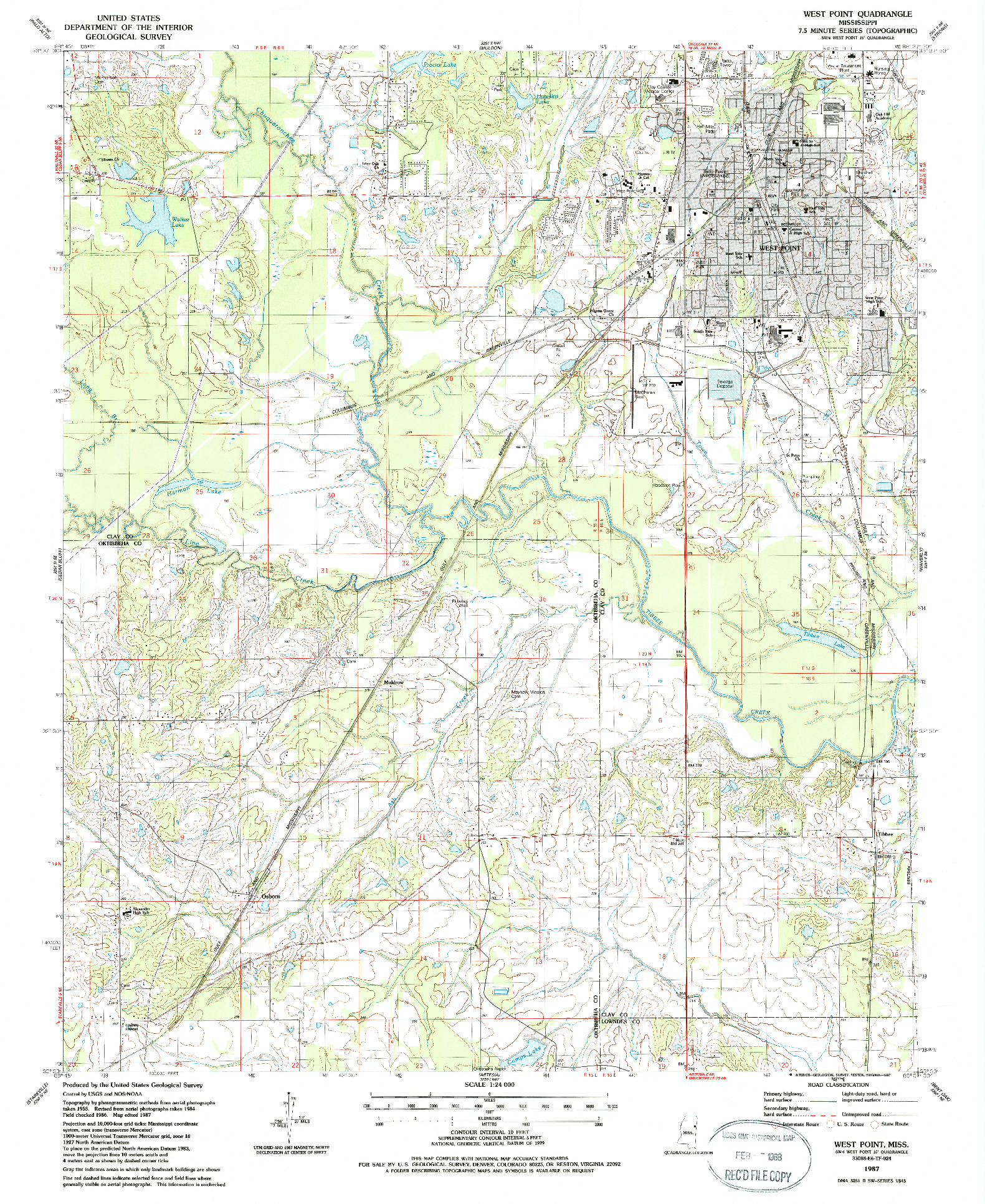 USGS 1:24000-SCALE QUADRANGLE FOR WEST POINT, MS 1987
