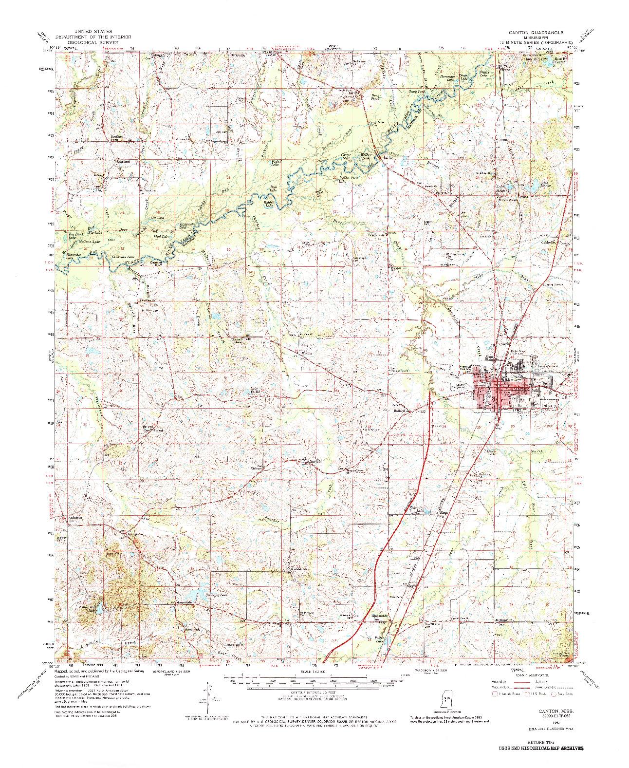 USGS 1:62500-SCALE QUADRANGLE FOR CANTON, MS 1961