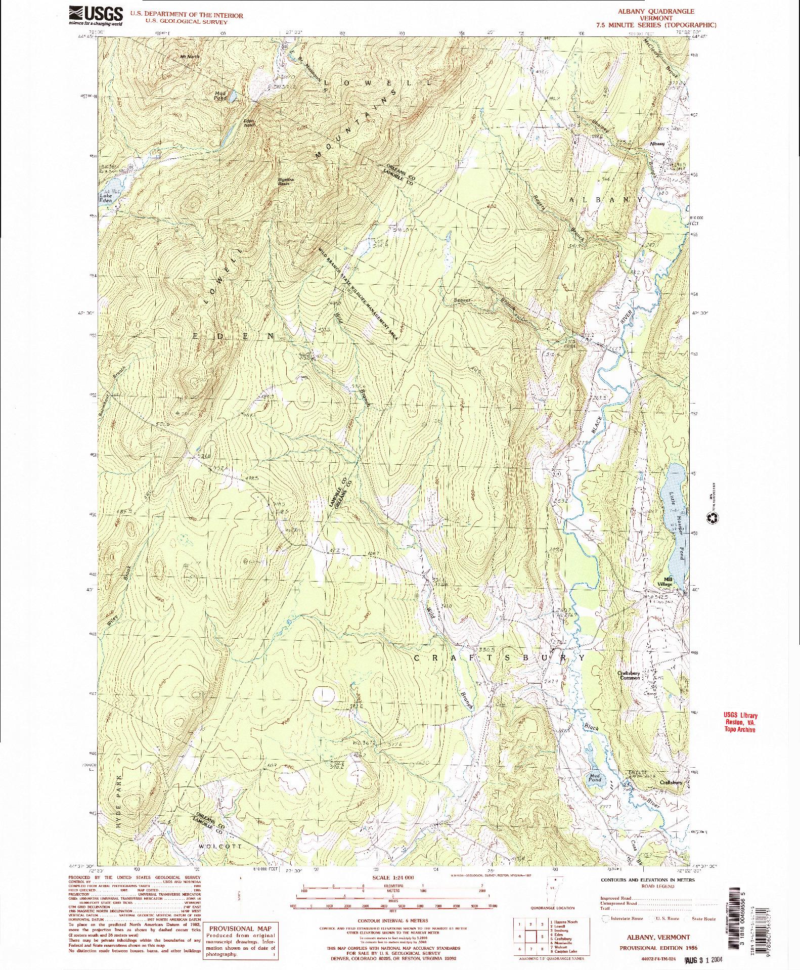 USGS 1:24000-SCALE QUADRANGLE FOR ALBANY, VT 1986