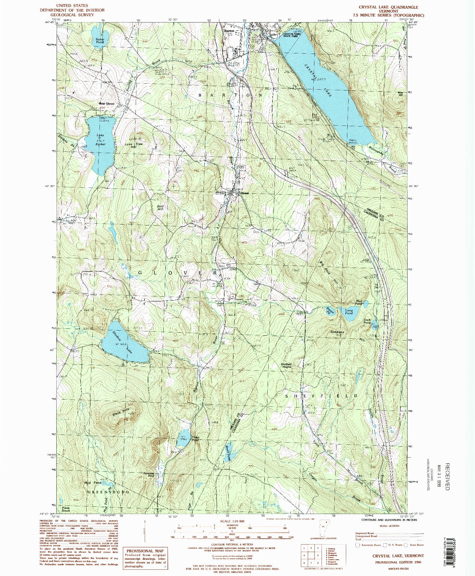 USGS 1:24000-SCALE QUADRANGLE FOR CRYSTAL LAKE, VT 1986