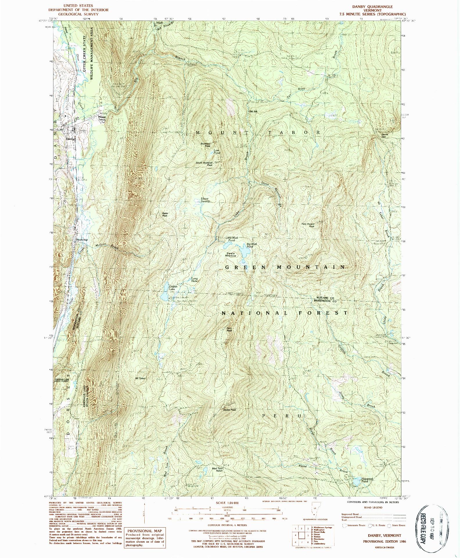 USGS 1:24000-SCALE QUADRANGLE FOR DANBY, VT 1986