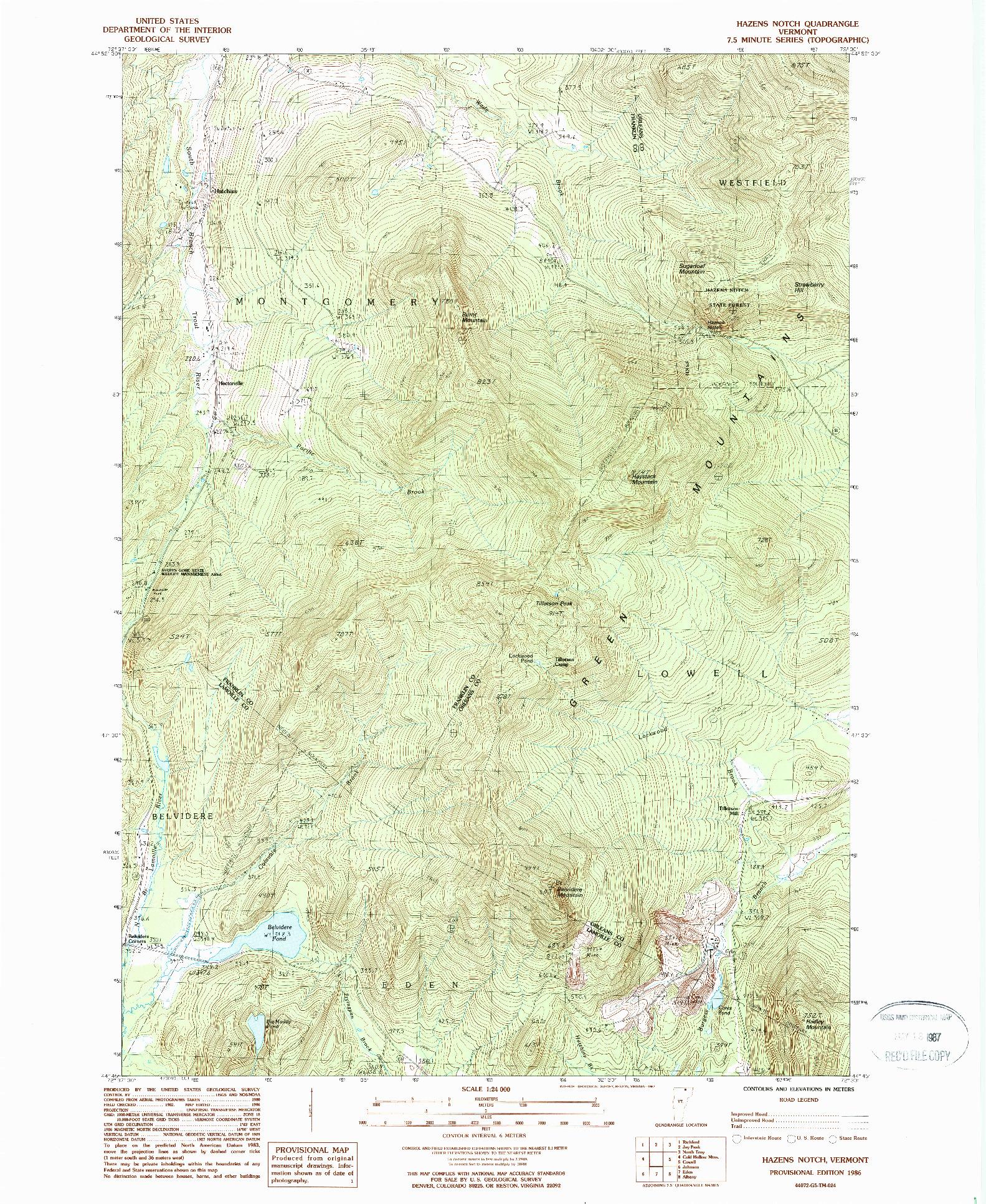 USGS 1:24000-SCALE QUADRANGLE FOR HAZENS NOTCH, VT 1986