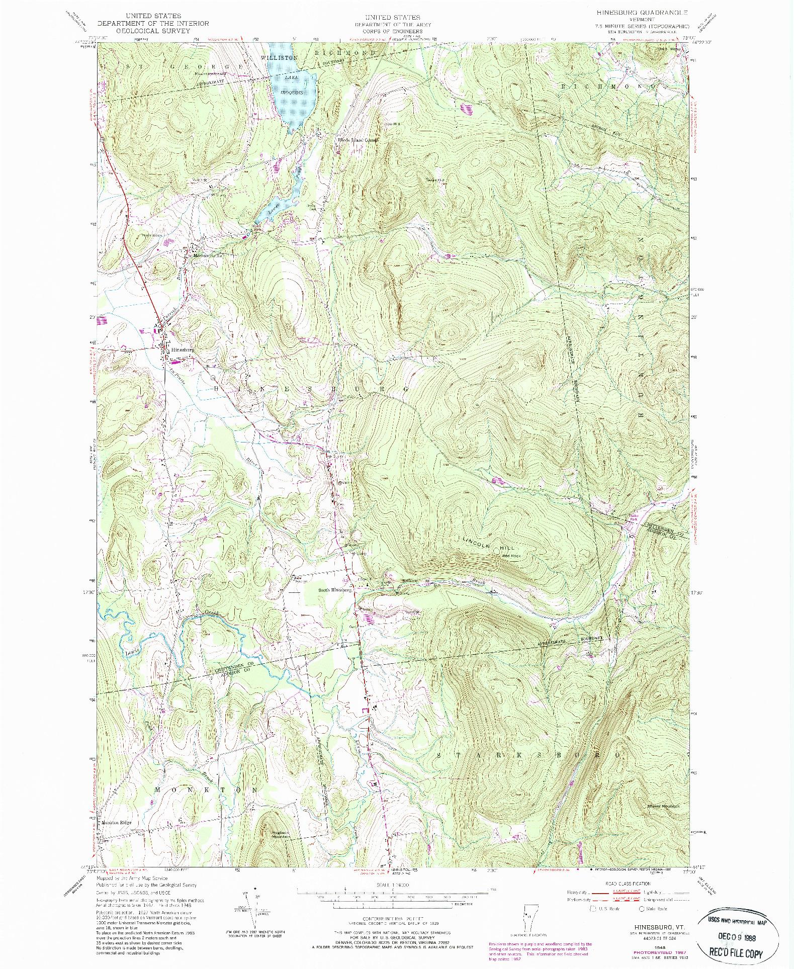USGS 1:24000-SCALE QUADRANGLE FOR HINESBURG, VT 1948