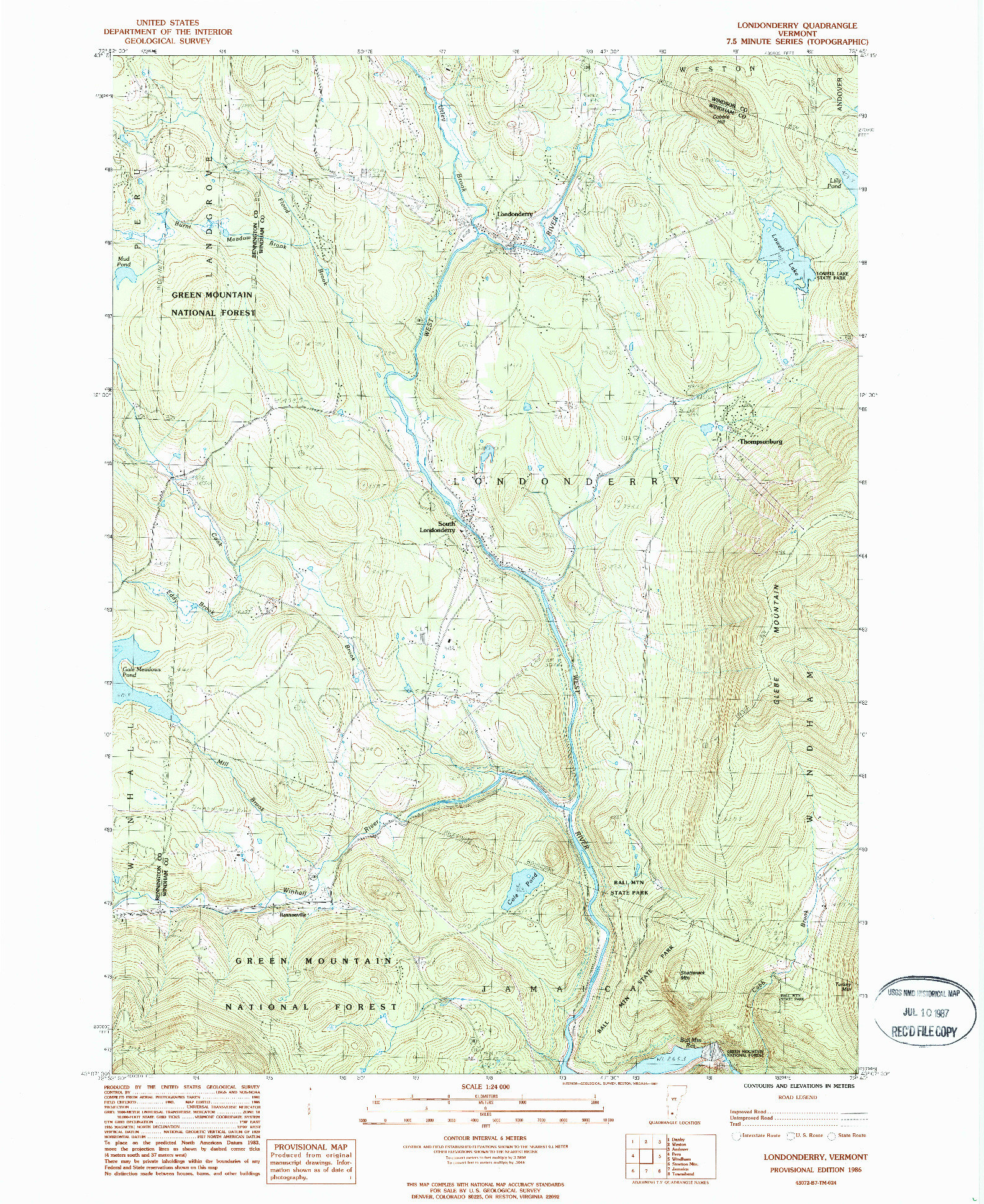 USGS 1:24000-SCALE QUADRANGLE FOR LONDONDERRY, VT 1986