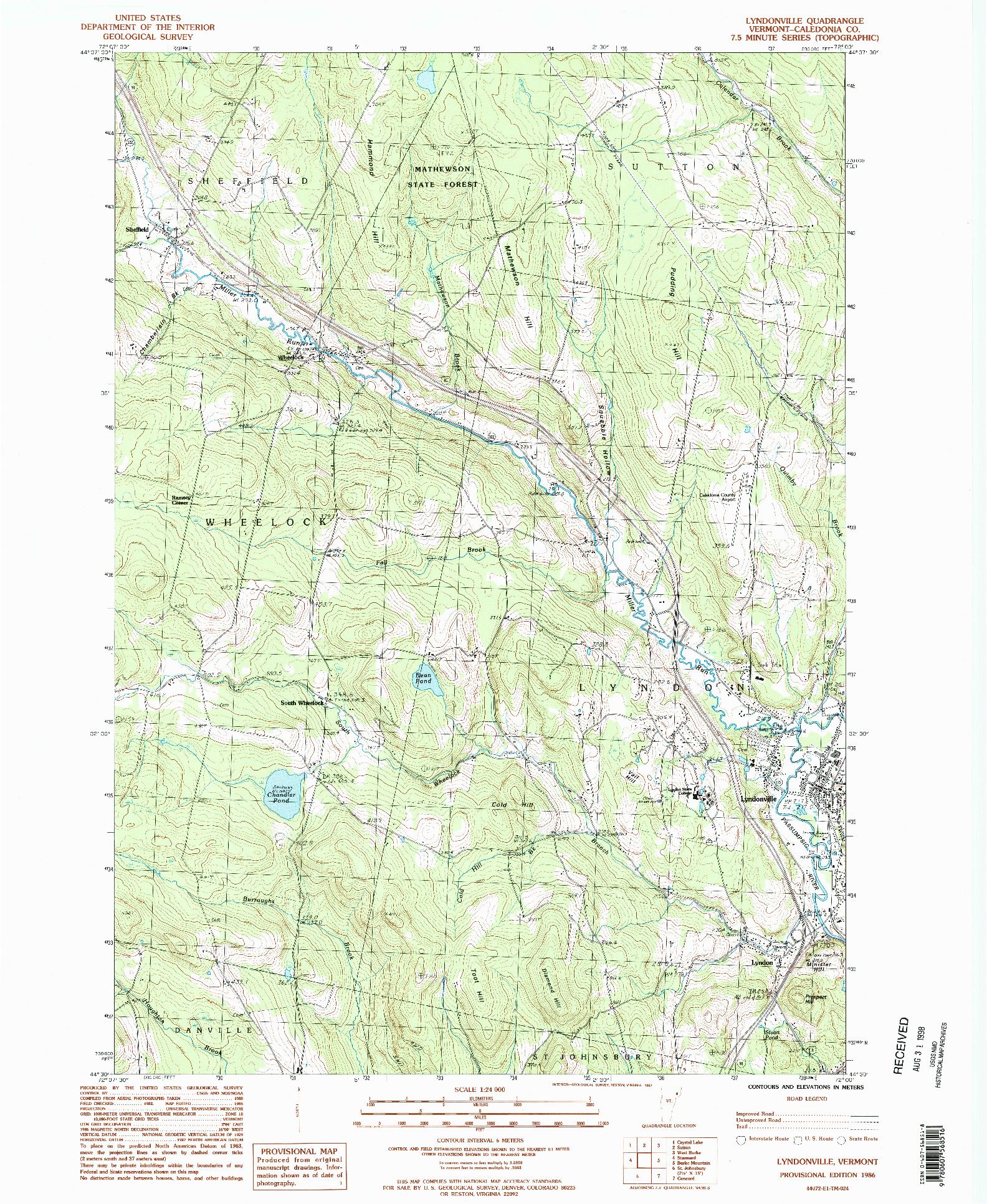 USGS 1:24000-SCALE QUADRANGLE FOR LYNDONVILLE, VT 1986