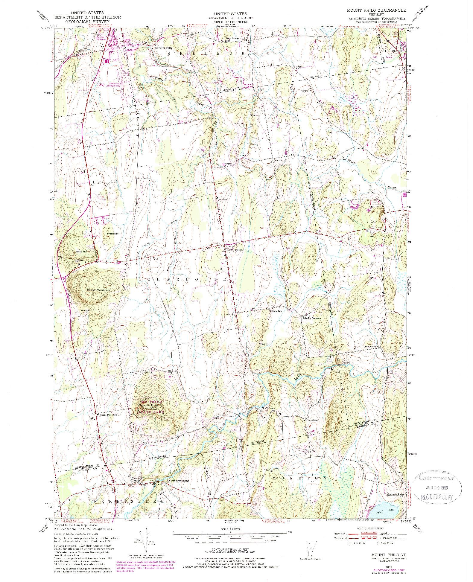 USGS 1:24000-SCALE QUADRANGLE FOR MOUNT PHILO, VT 1948