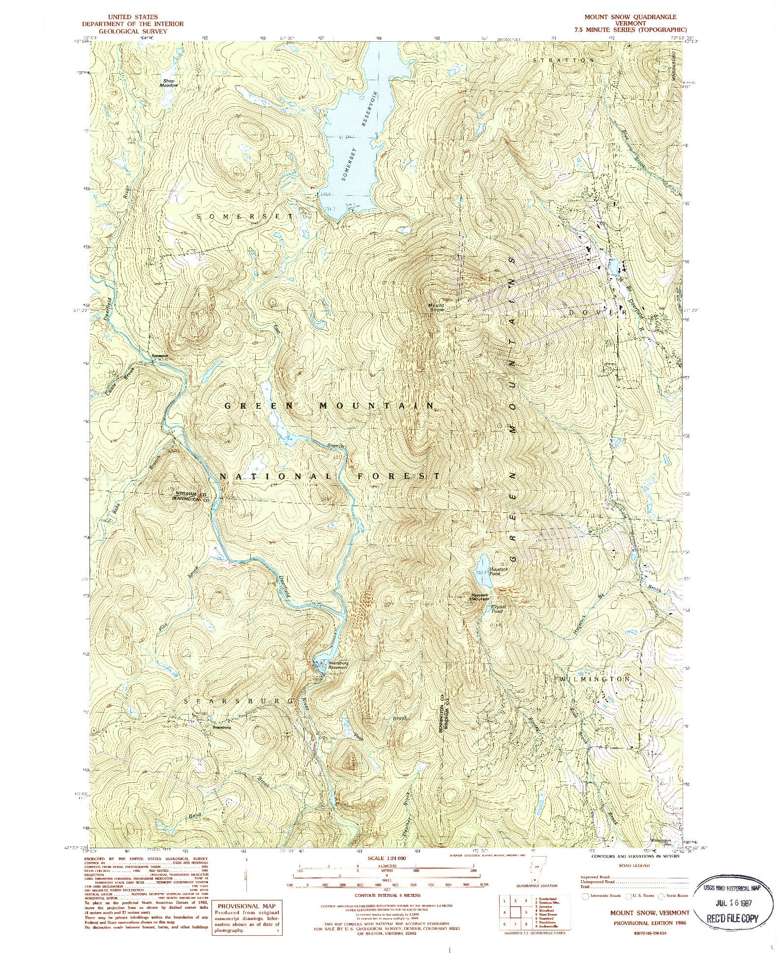 USGS 1:24000-SCALE QUADRANGLE FOR MOUNT SNOW, VT 1986