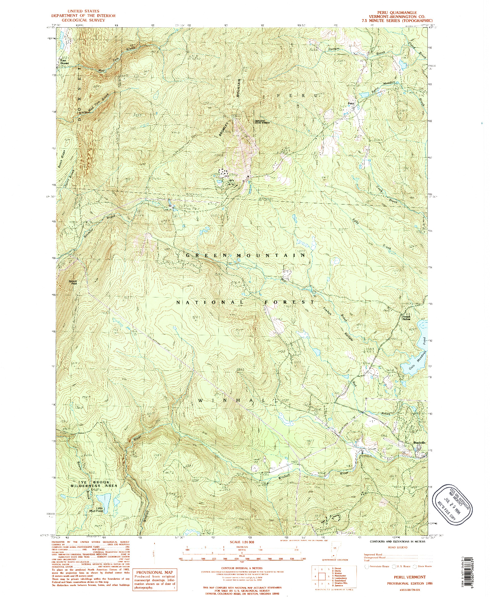 USGS 1:24000-SCALE QUADRANGLE FOR PERU, VT 1986