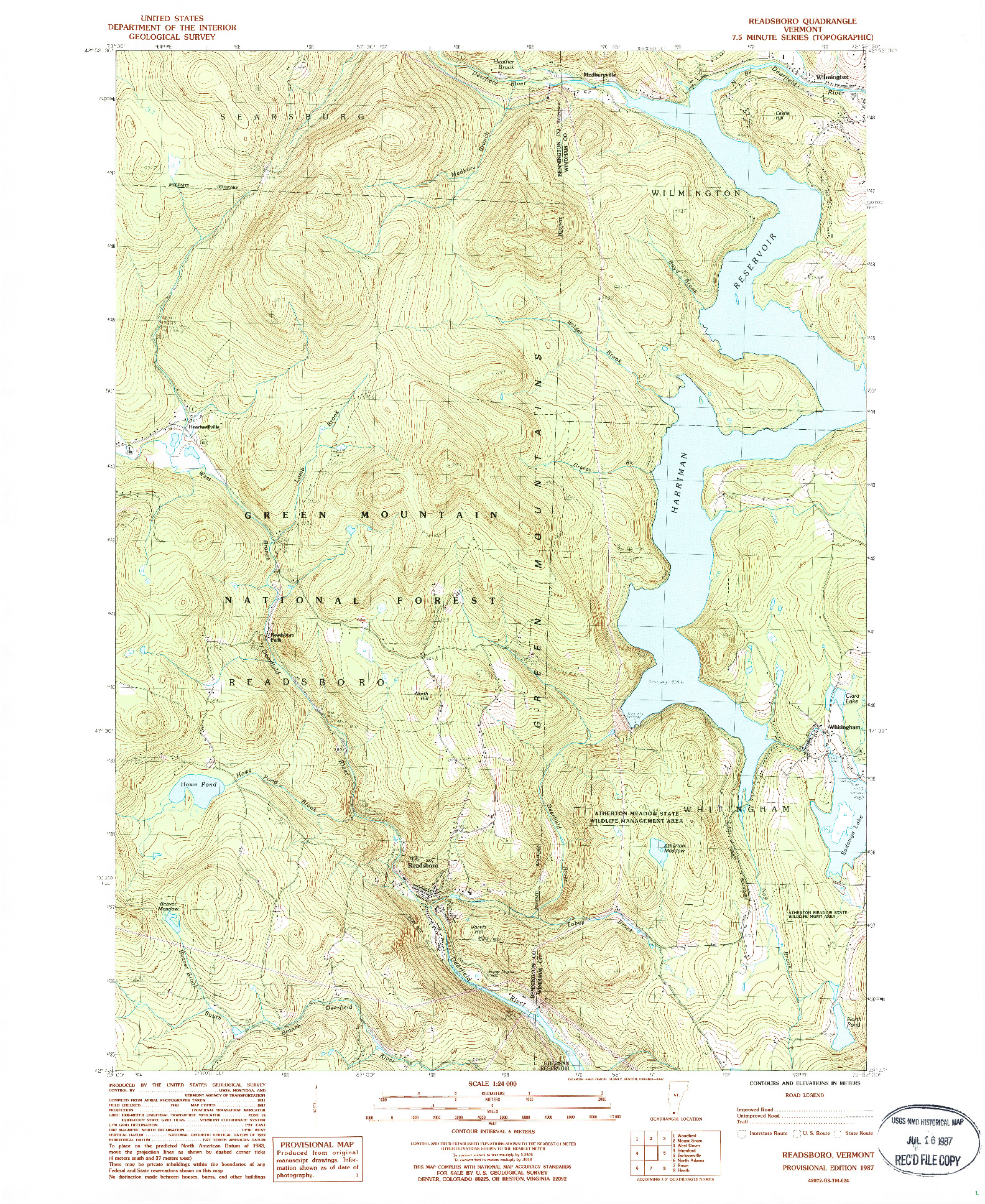 USGS 1:24000-SCALE QUADRANGLE FOR READSBORO, VT 1987