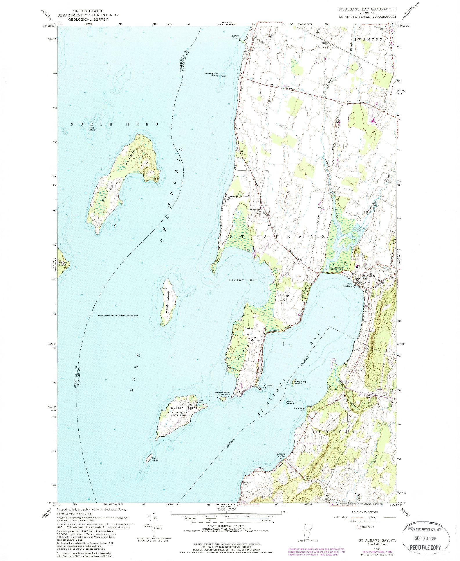 USGS 1:24000-SCALE QUADRANGLE FOR ST. ALBANS BAY, VT 1964