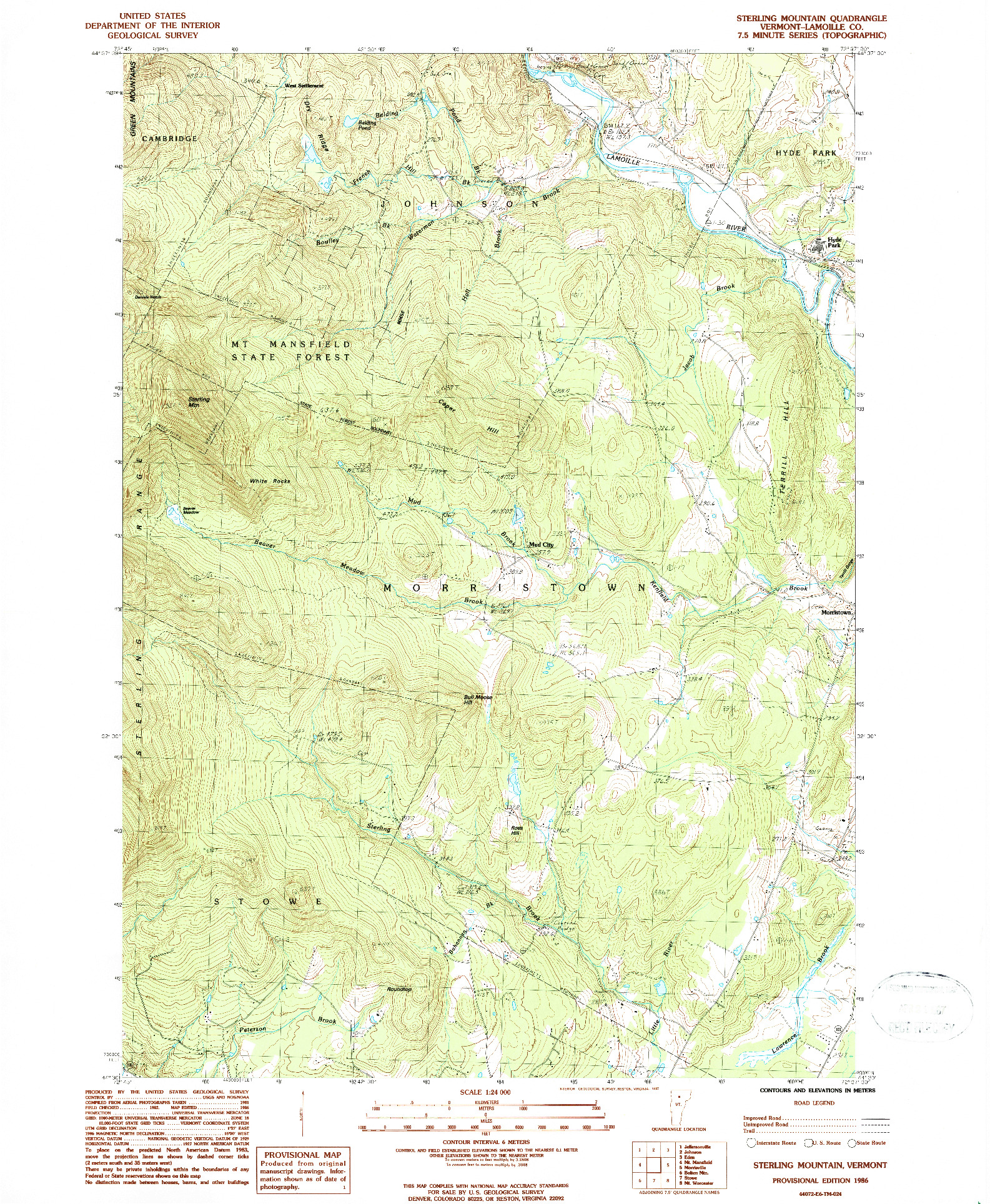 USGS 1:24000-SCALE QUADRANGLE FOR STERLING MOUNTAIN, VT 1986