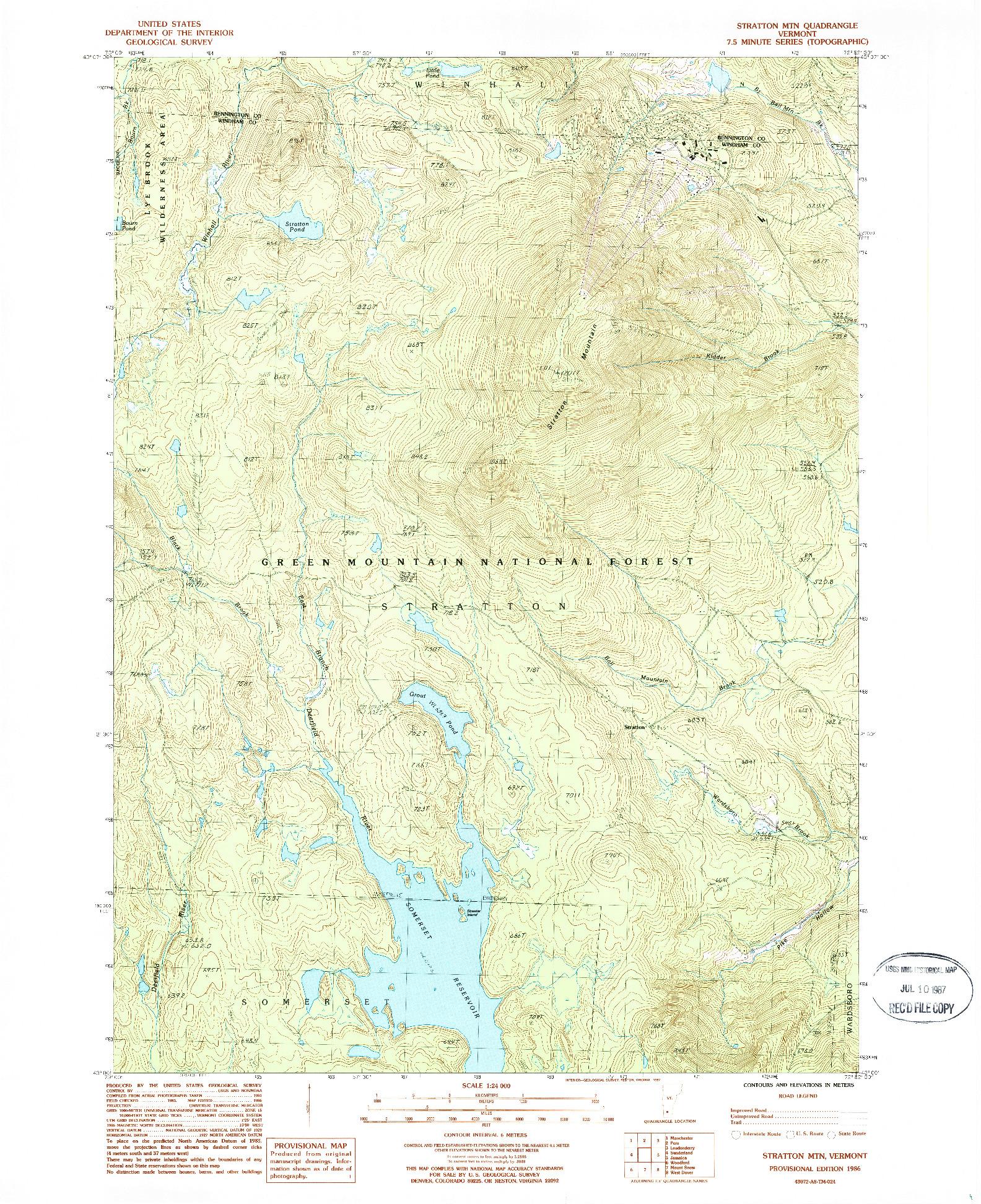 USGS 1:24000-SCALE QUADRANGLE FOR STRATTON MTN, VT 1986