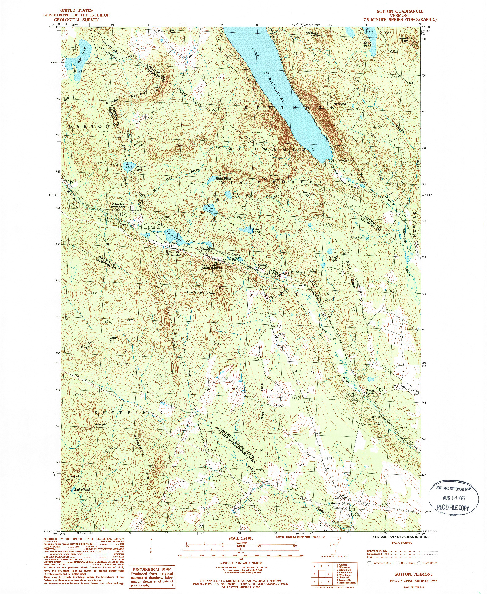 USGS 1:24000-SCALE QUADRANGLE FOR SUTTON, VT 1986
