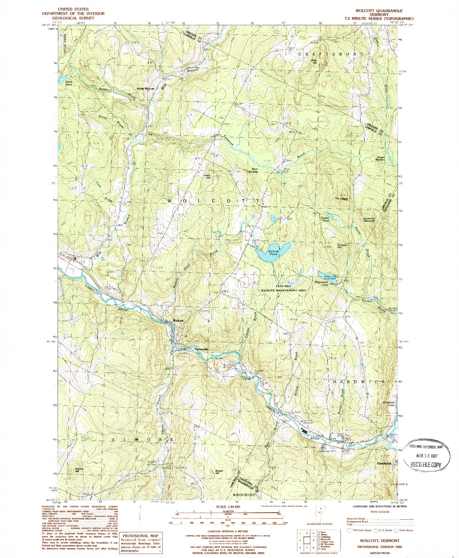 USGS 1:24000-SCALE QUADRANGLE FOR WOLCOTT, VT 1986